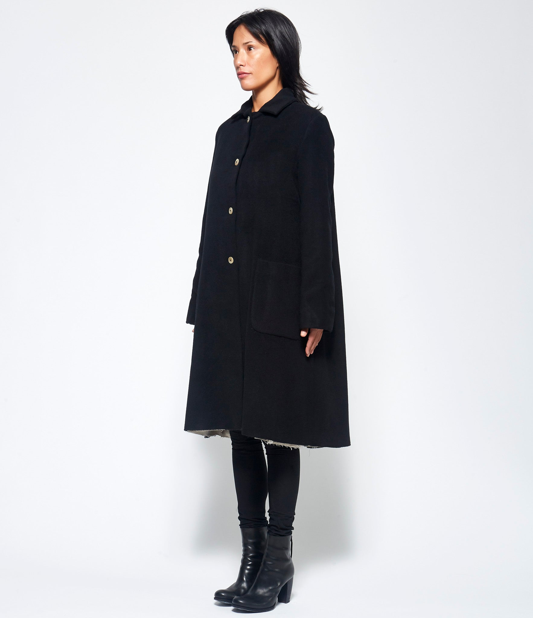 m.a+ Black Wide Two Pocket Coat