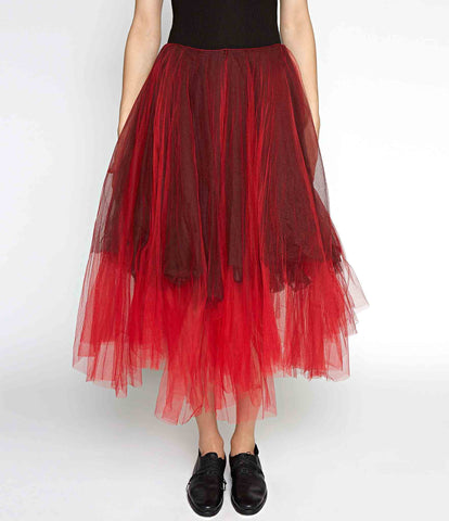 Marc Le Bihan Red Silk Tulle Skirt
