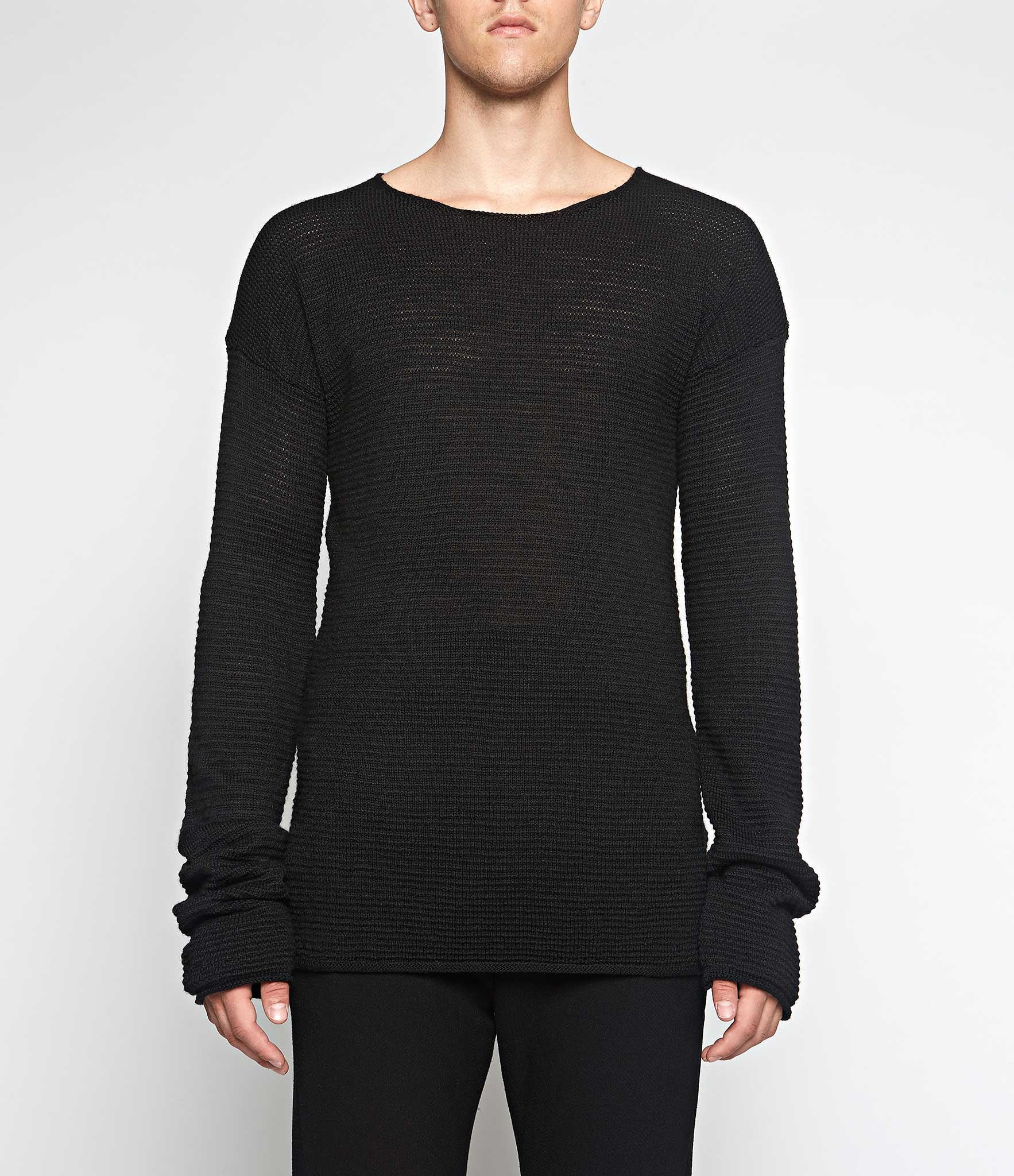 Lost & Found Rooms Black Ribbed Crew Neck Sweater