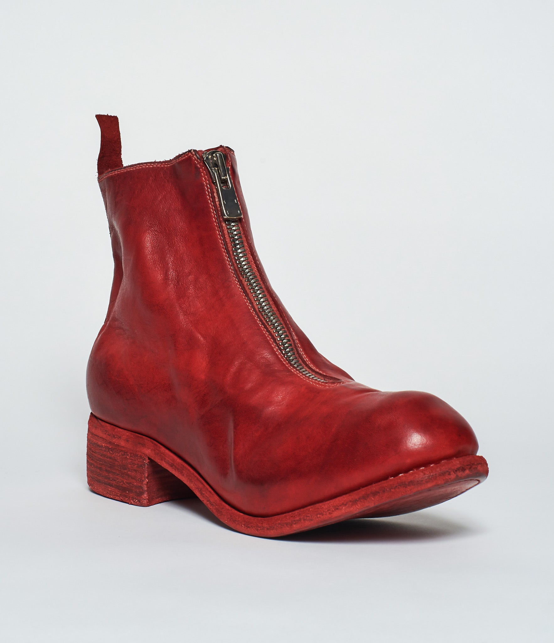 Guidi PL1 Red Soft Horse Full Grain Front Zip Ankle Boots