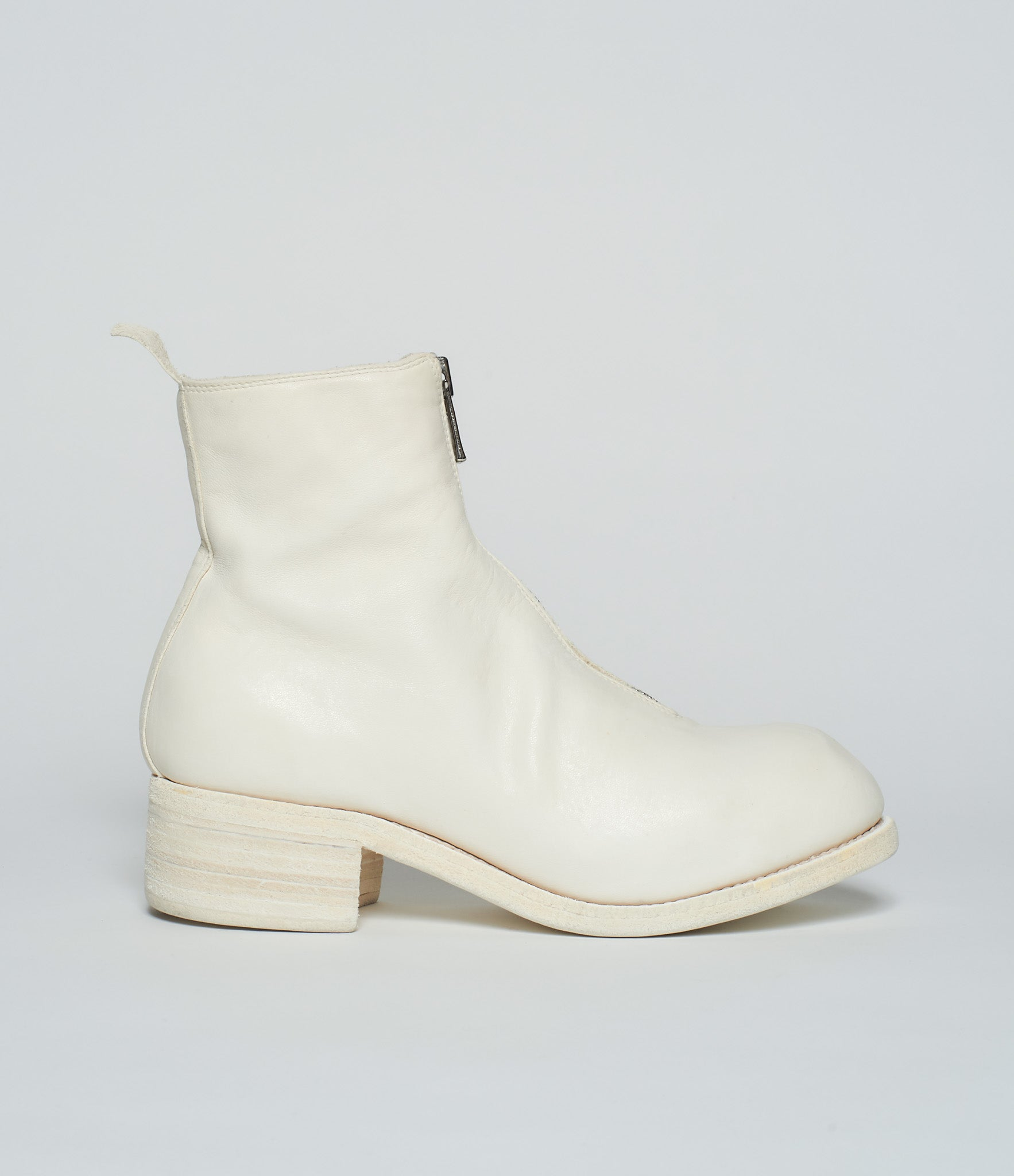 Guidi PL1 White Soft Horse Full Grain Front Zip Ankle Boots