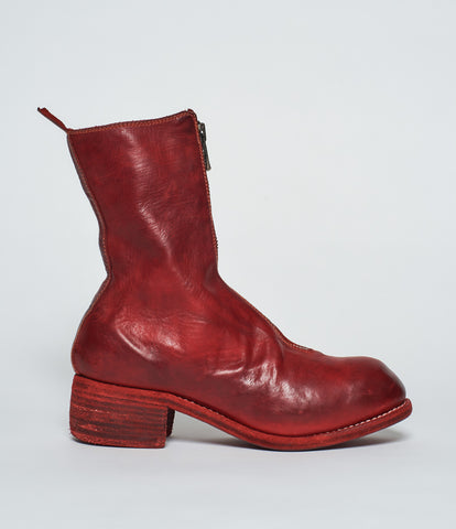 Guidi PL2 Red Soft Horse Full Grain Front Zip Calf-Length Boots