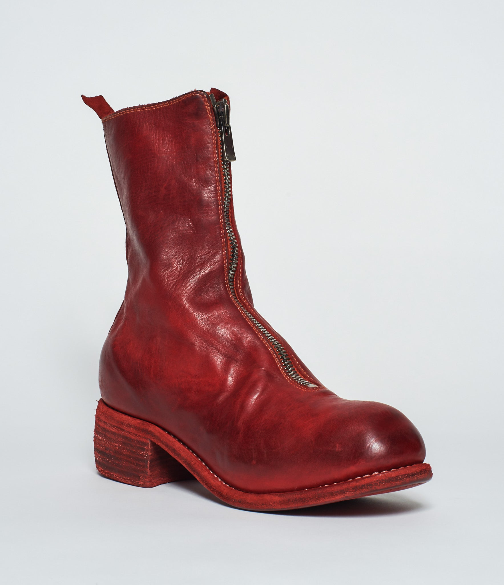 a3426fcc1 Guidi PL2 Red Soft Horse Full Grain Front Zip Calf-Length Boots ...