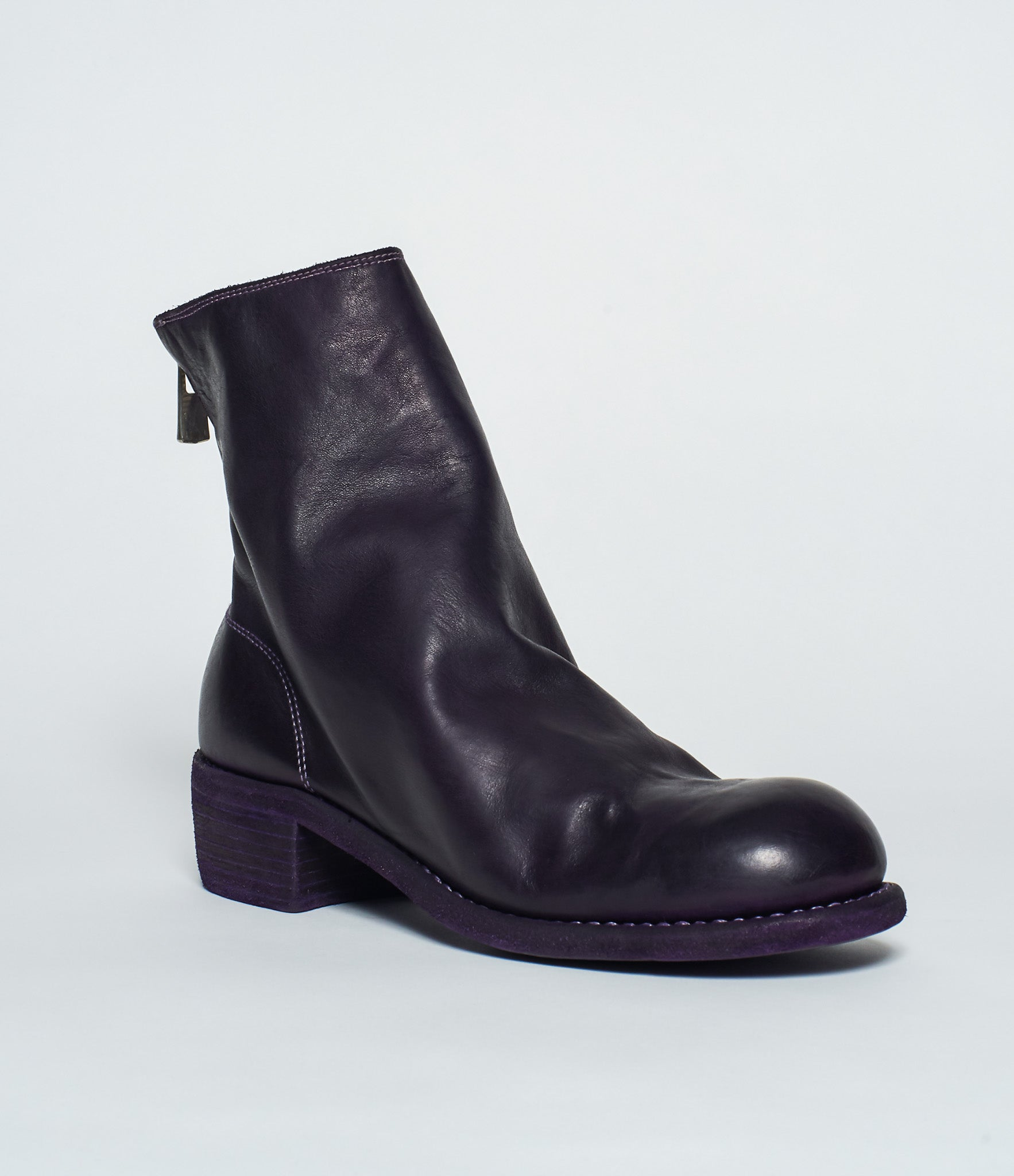 Guidi 796 Purple Soft Horse Full Grain Back Zip Ankle Boots
