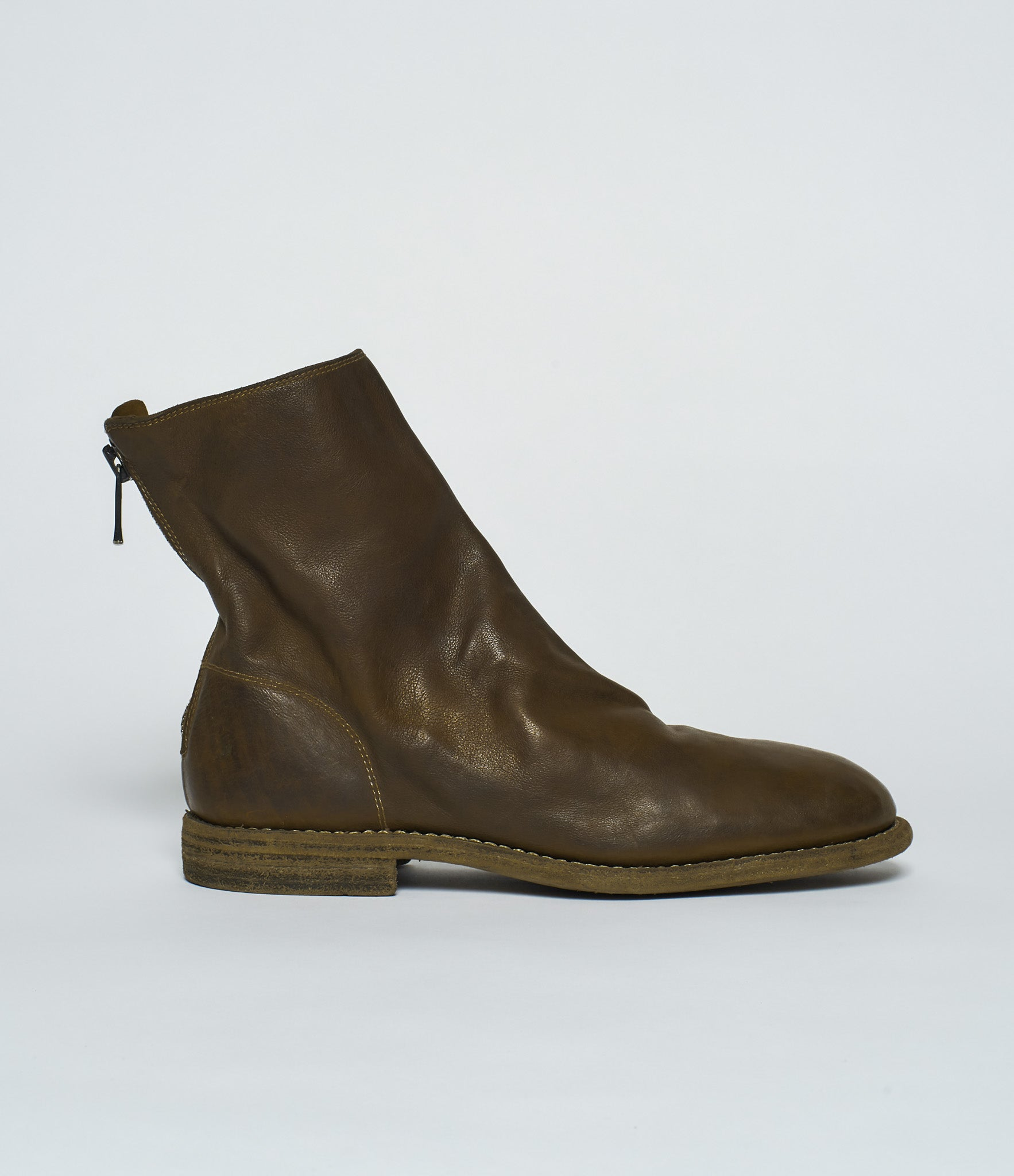 Guidi 986MS Olive Kangaroo Full Grain Back Zip Ankle Boots