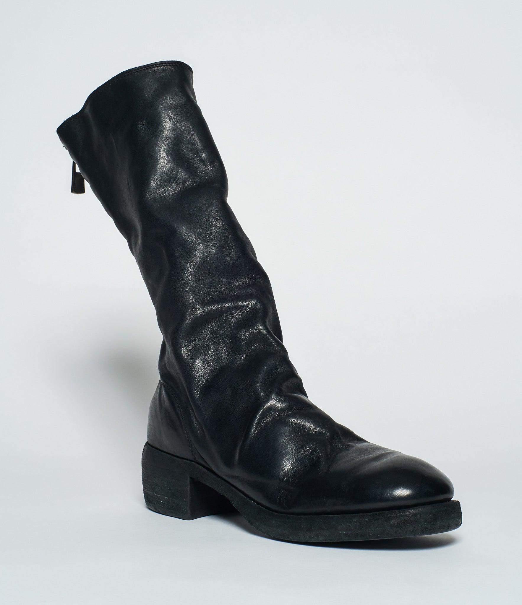 Guidi 789Z Black Soft Horse Full Grain Back Zip Tall Boots