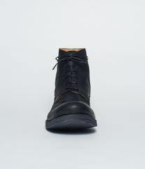 m.a+ Black Calf Leather Cap Toe Derby Ankle Boots