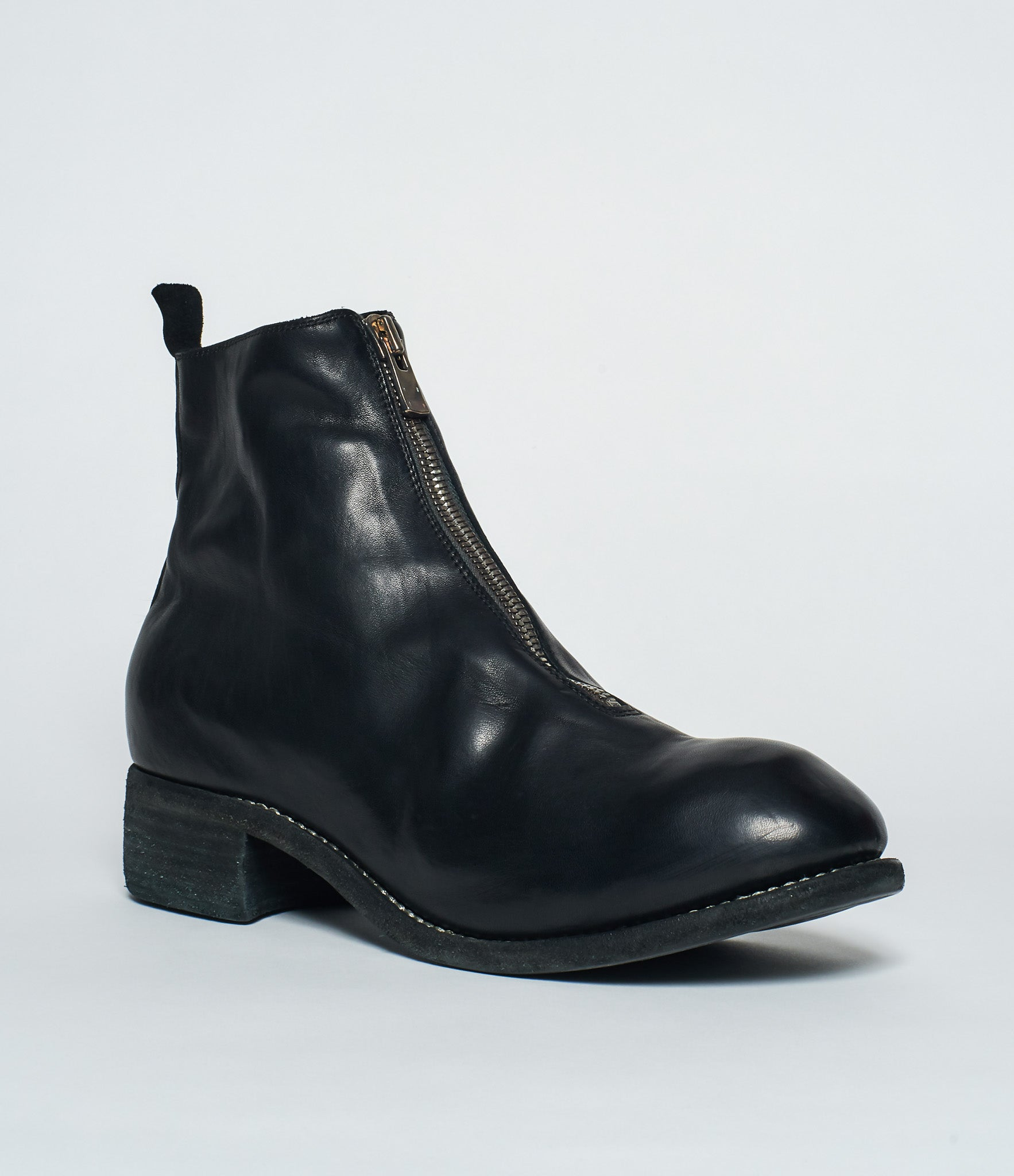 Guidi PL1 Black Horse Full Grain Front Zip Ankle Boots