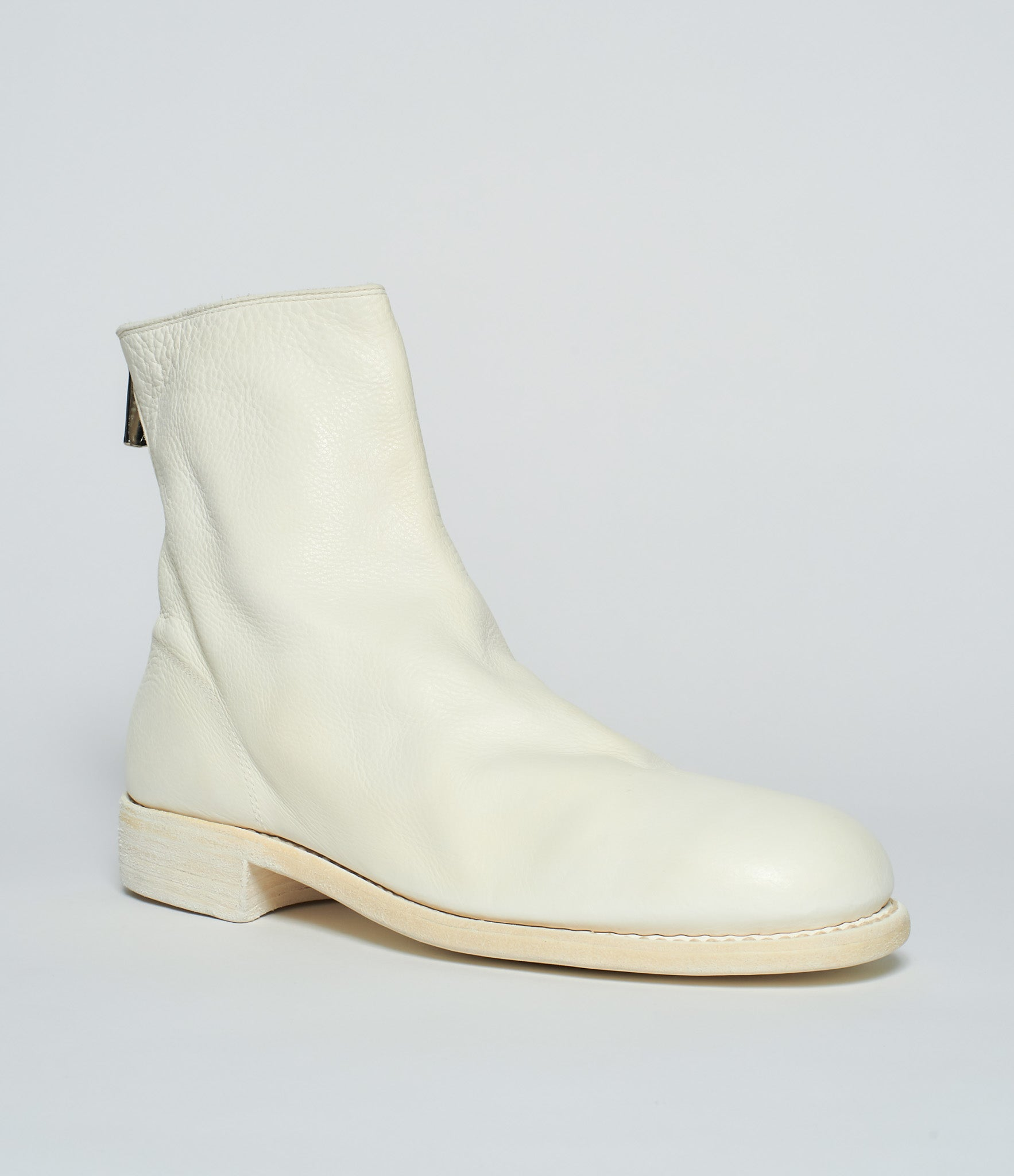Guidi 986 White Calf Full Grain Back Zip Boots