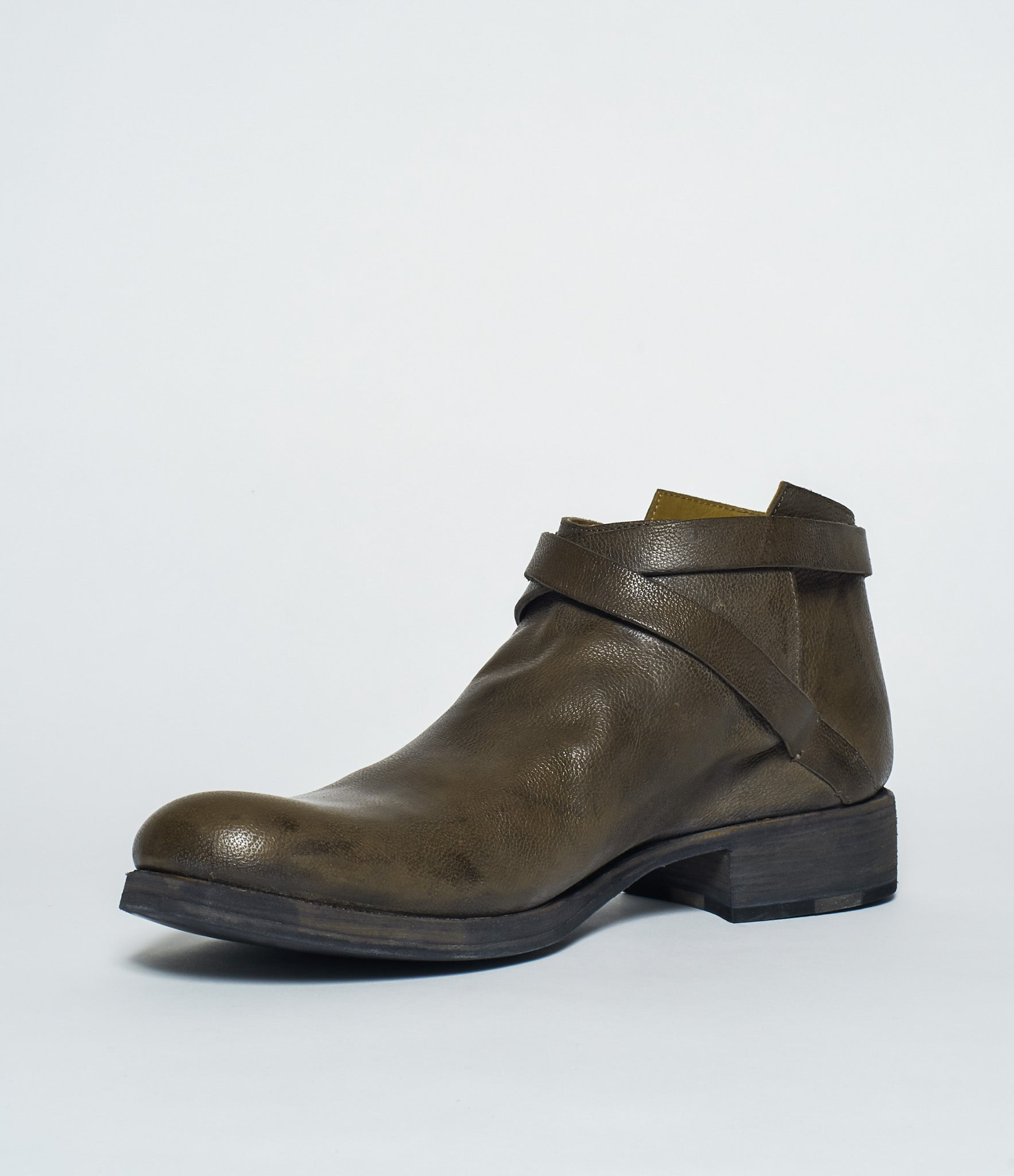 m.a+ Coal Camel Leather Buckled Strap Ankle Boots