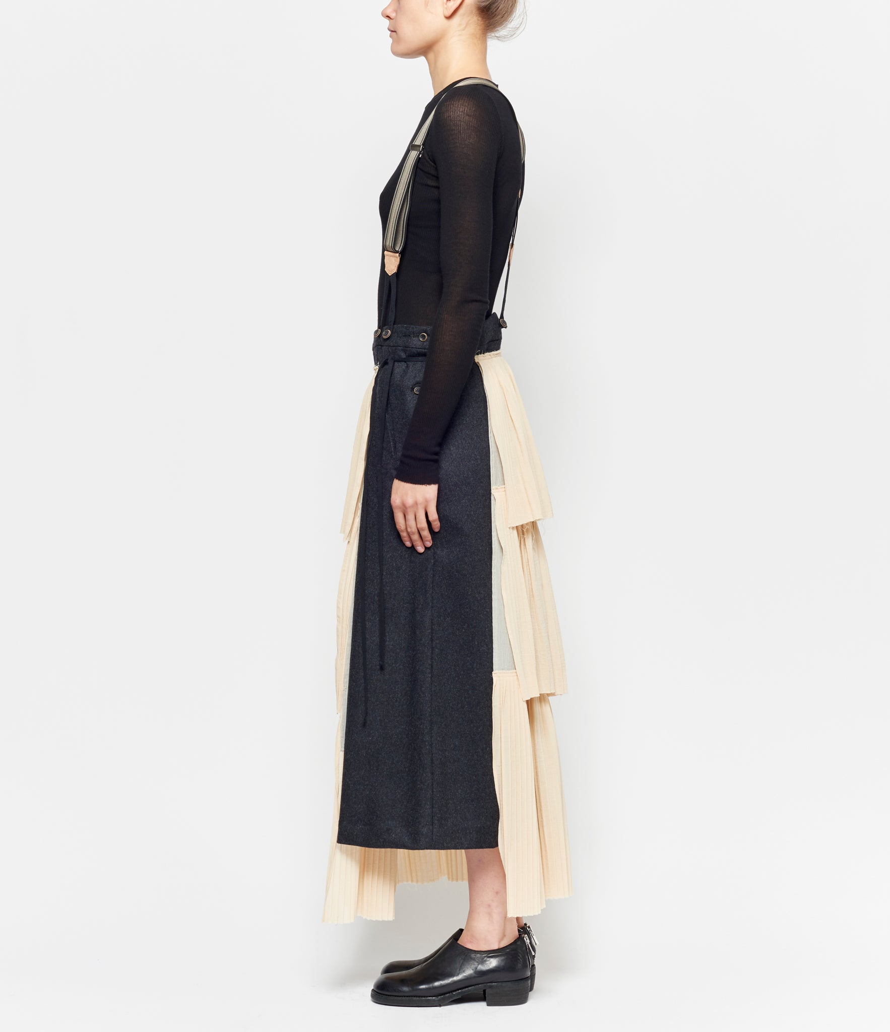 Individual Sentiments Panel Pleated Wool Flannel Suspender Skirt