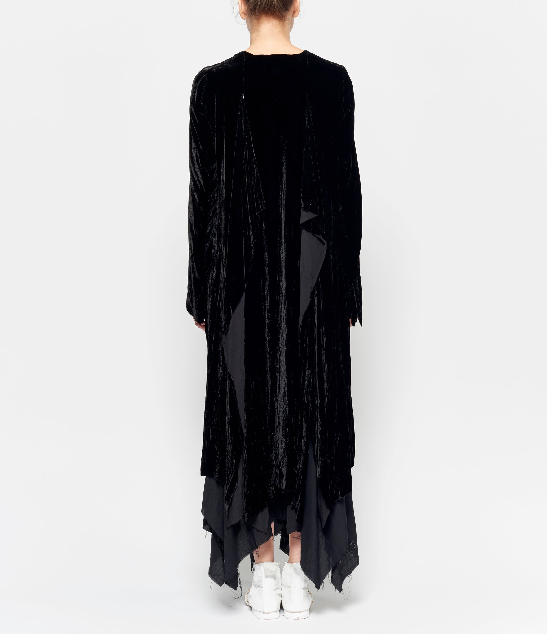 Elena Dawson Black Silk Velvet Cape Coat