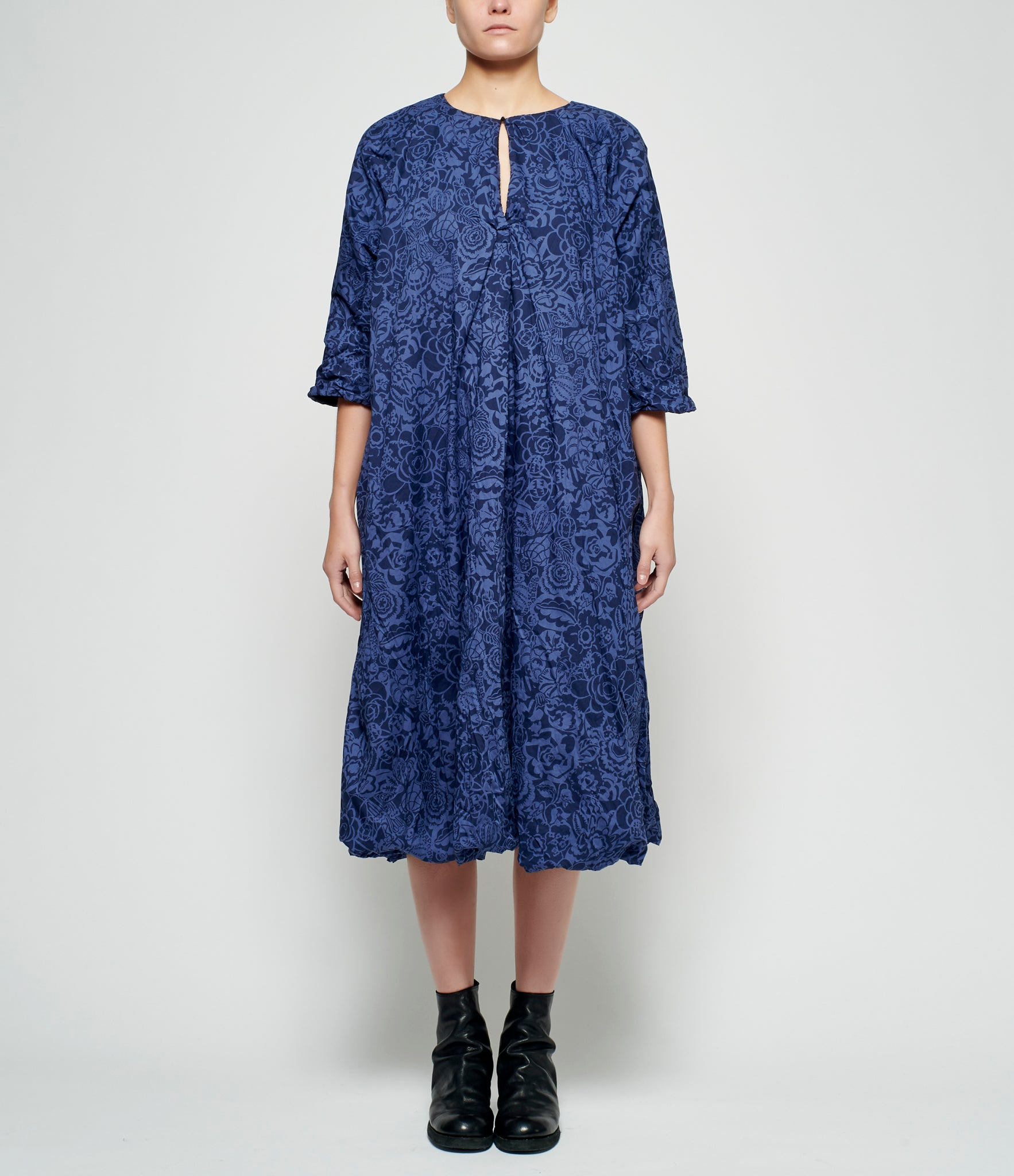 Daniela Gregis Reversible Tonal Blue Lily Liberty London Print Lined Wool Dress
