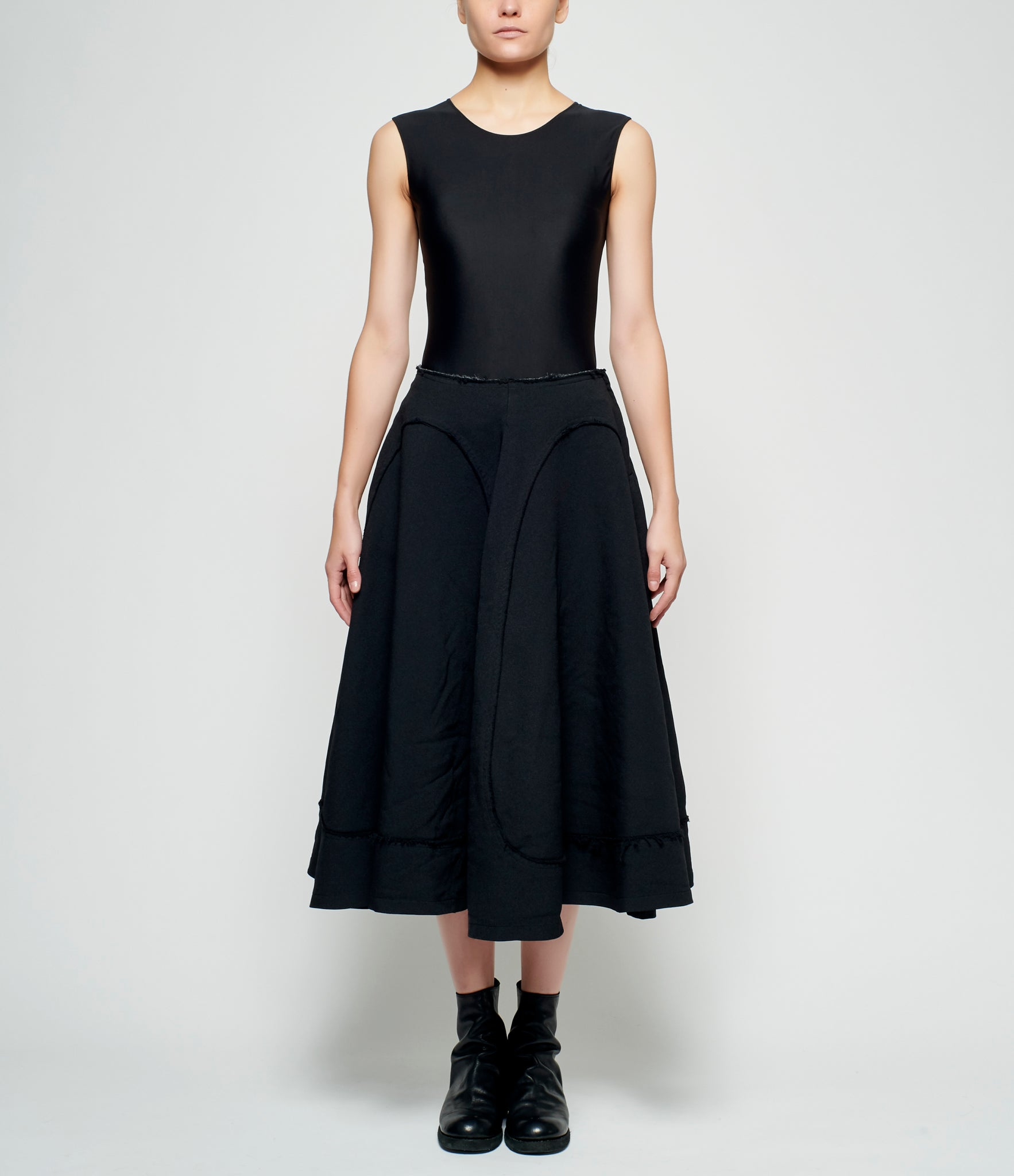 Comme Des Garcons Polyester Double Cloth Paneled Wheel Skirt