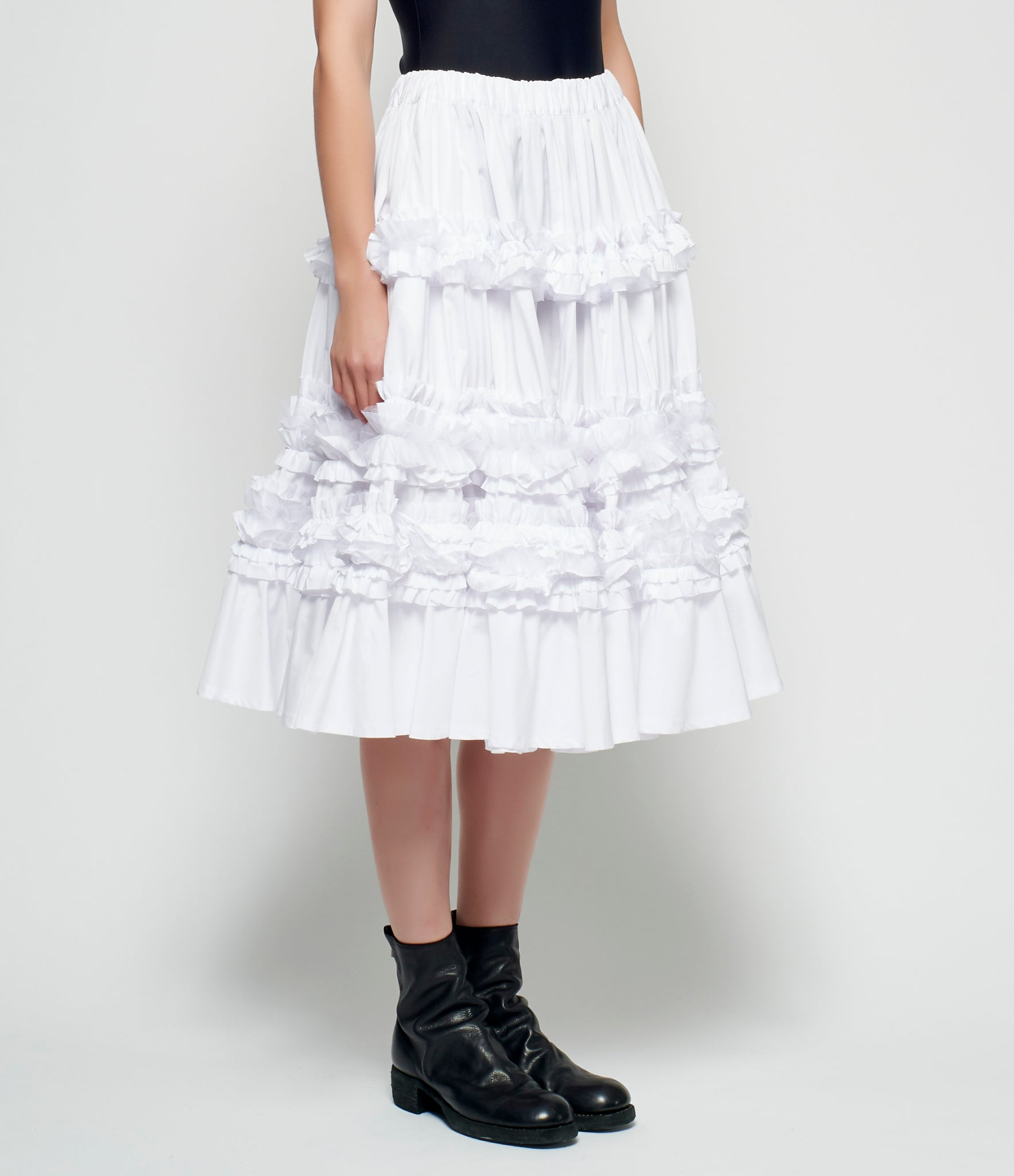 Comme Des Garcons White Ruffled Cotton Broadcloth Skirt