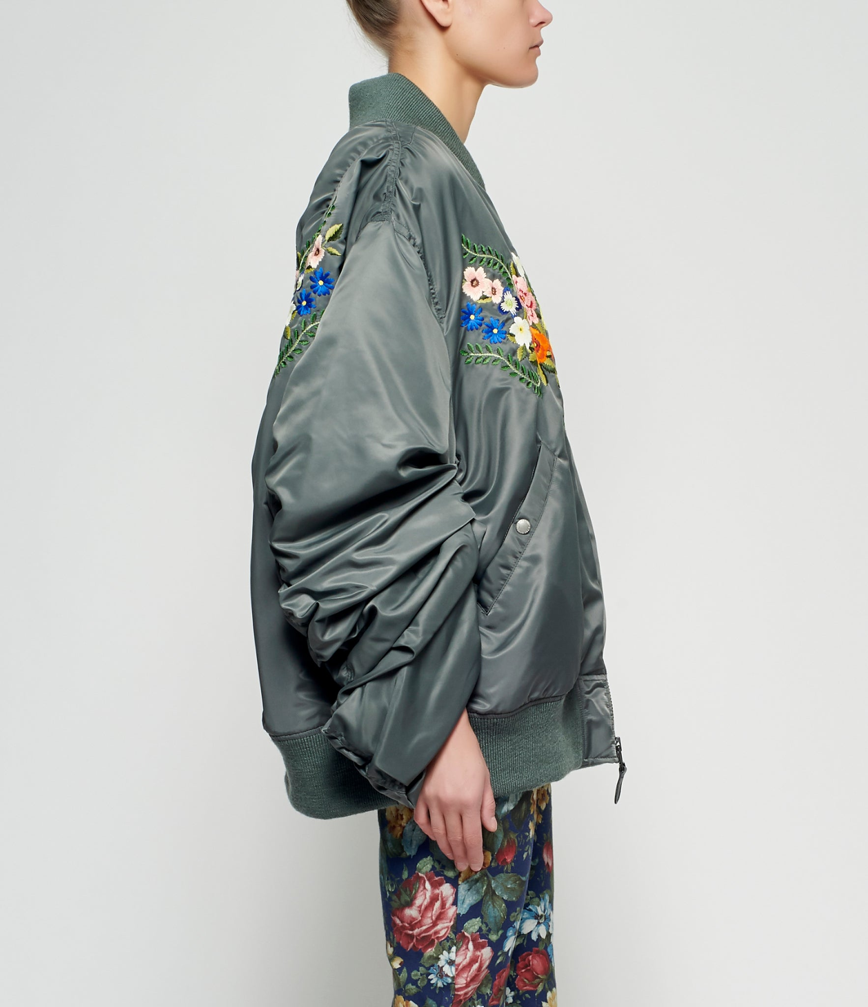 Junya Watanabe Floral Embroidered Nylon Twill Oversized Bomber Jacket