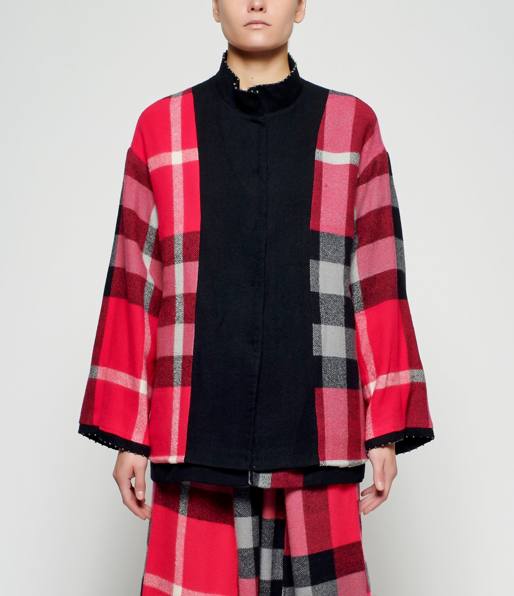 Pero Gathered Wrist Reversible Wool Flannel Jacket