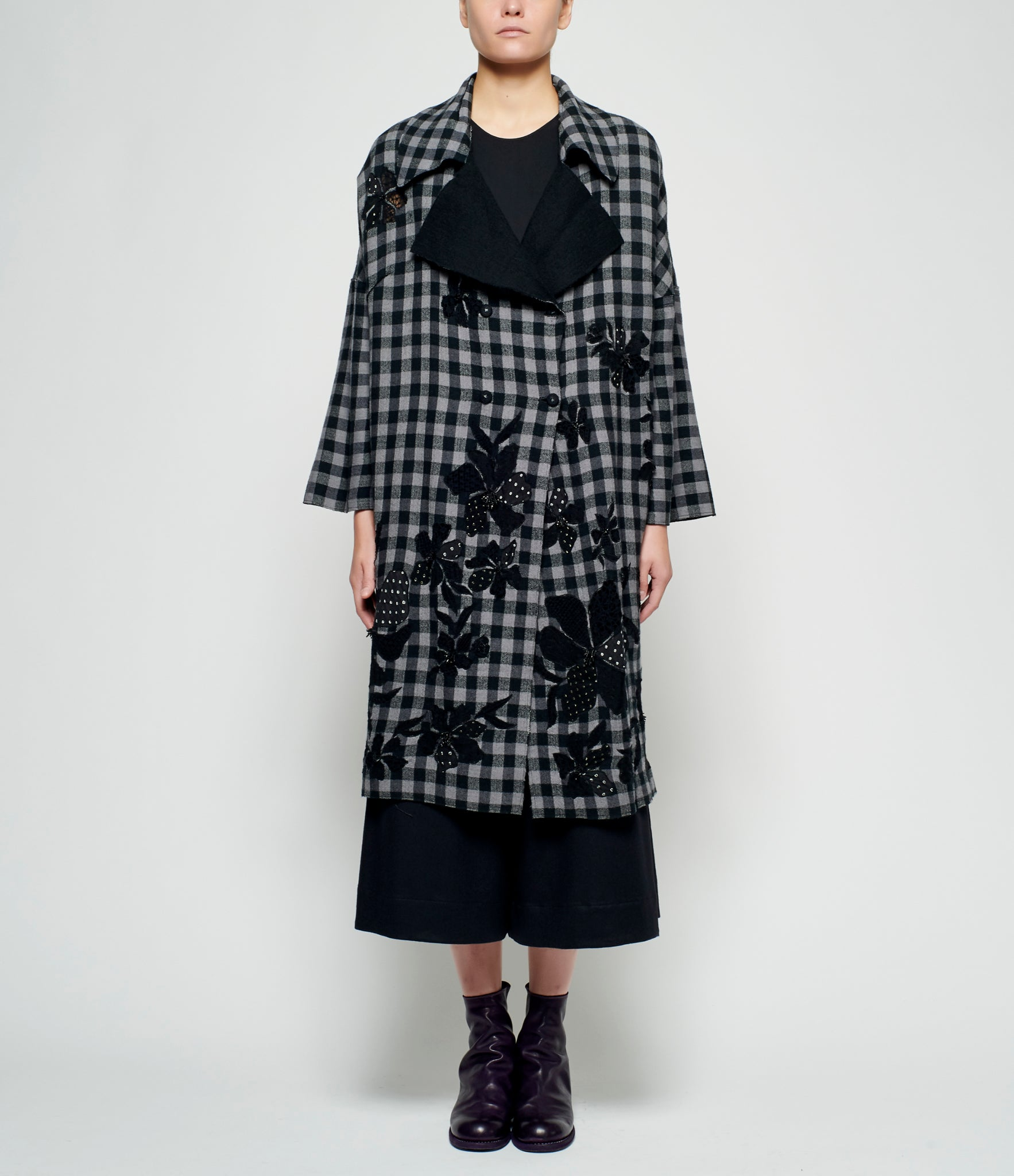 Pero Check Reversible Wool Flannel Check Coat