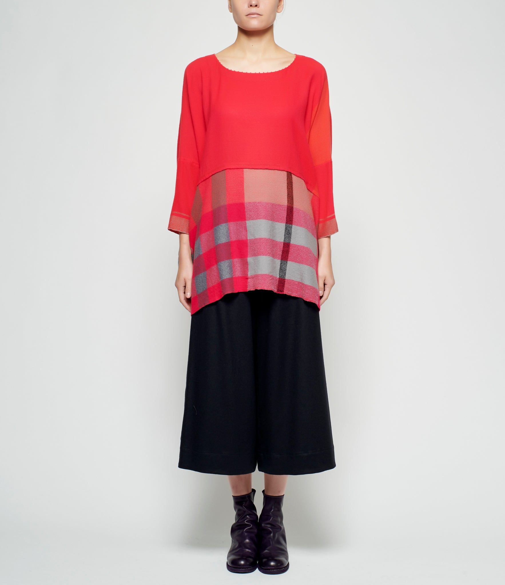 Pero Mixed Pattern Paneled Wool Flannel Top
