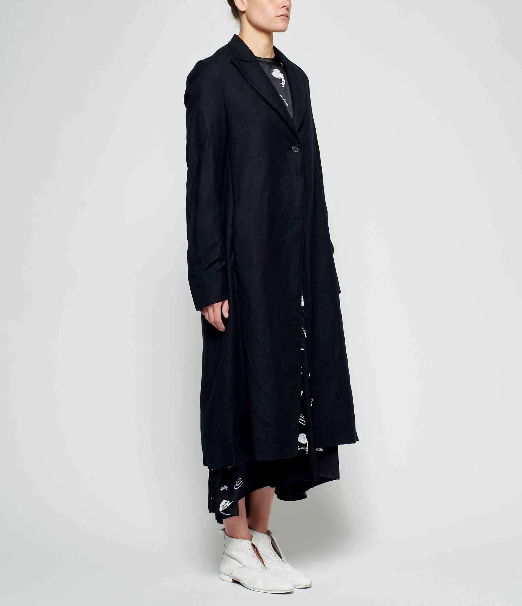 Elena Dawson Wool Cashmere Print Lining One Button Coat