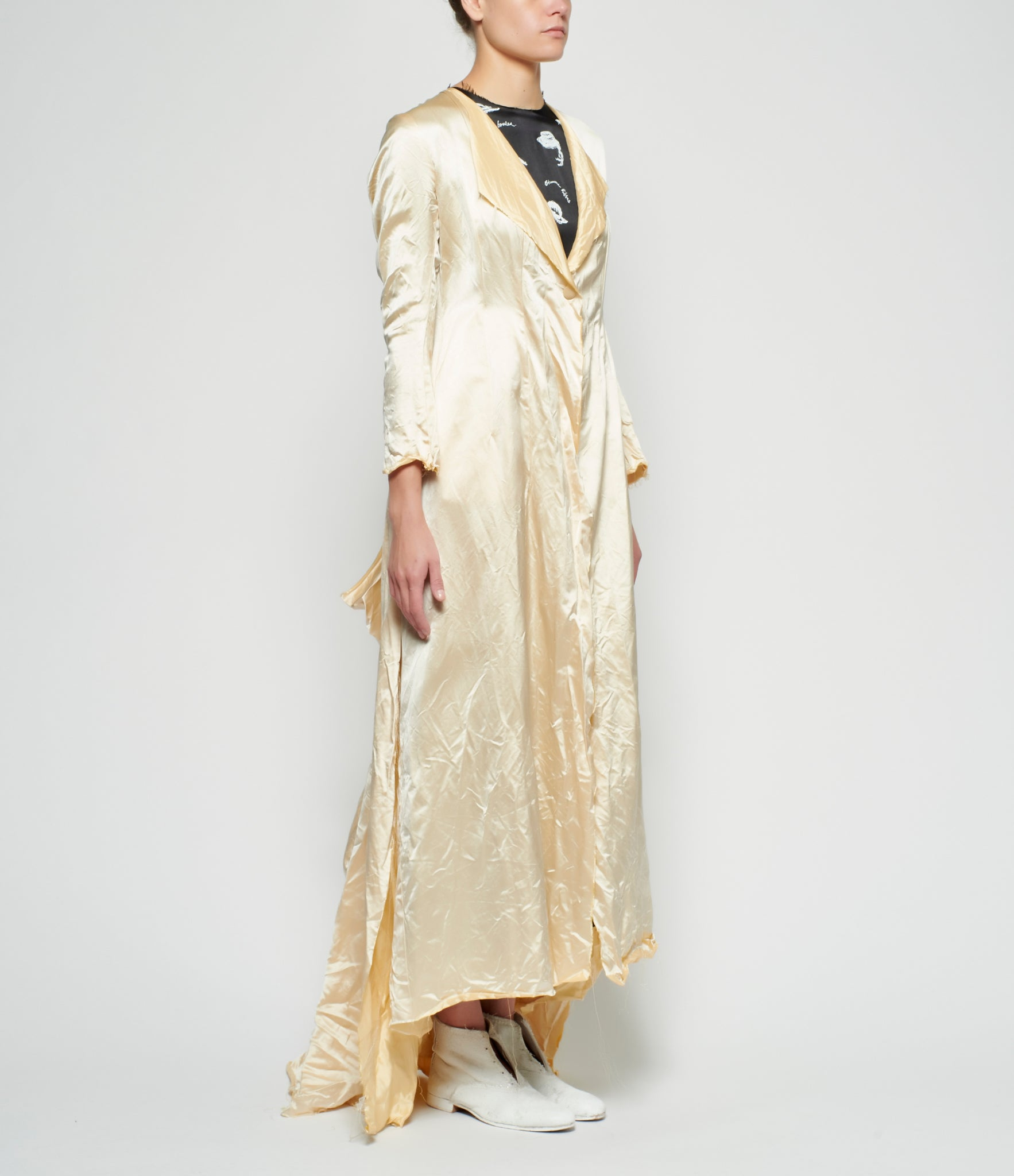 Elena Dawson Antique Heavy Silk Satin Dress Coat