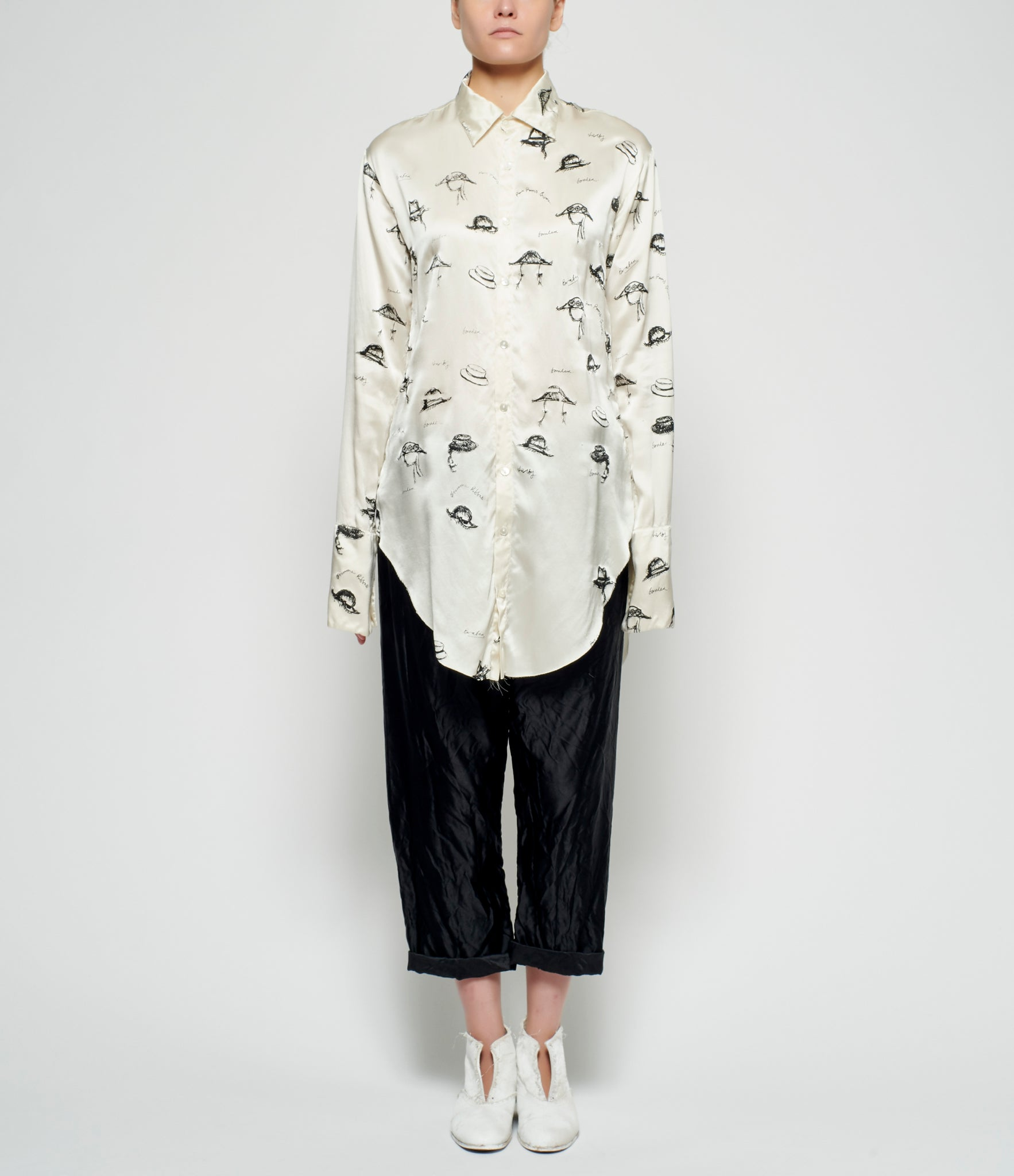 Elena Dawson Hat Print Satin Long Shirt