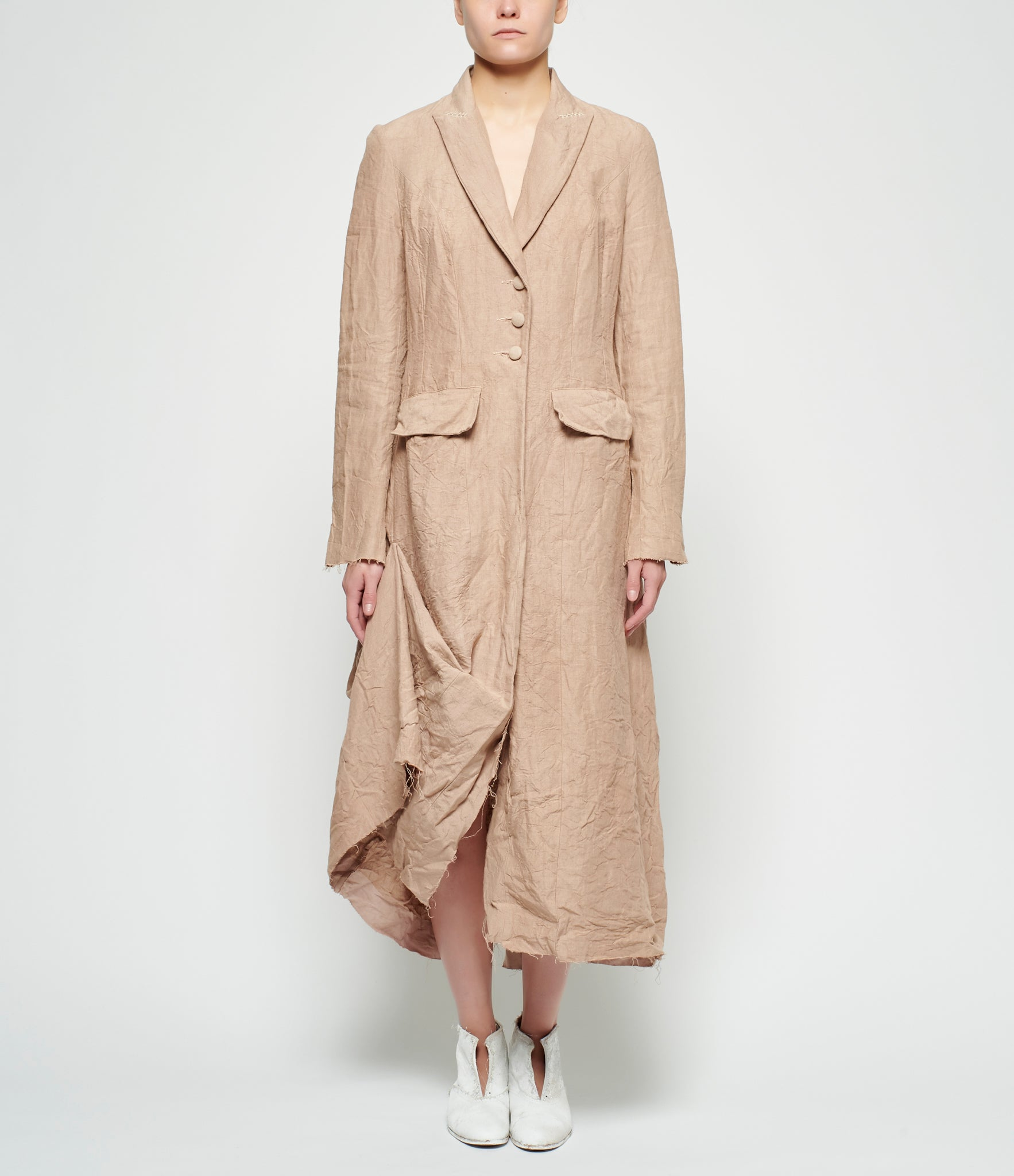 Elena Dawson Tobacco Linen Unlined Coat