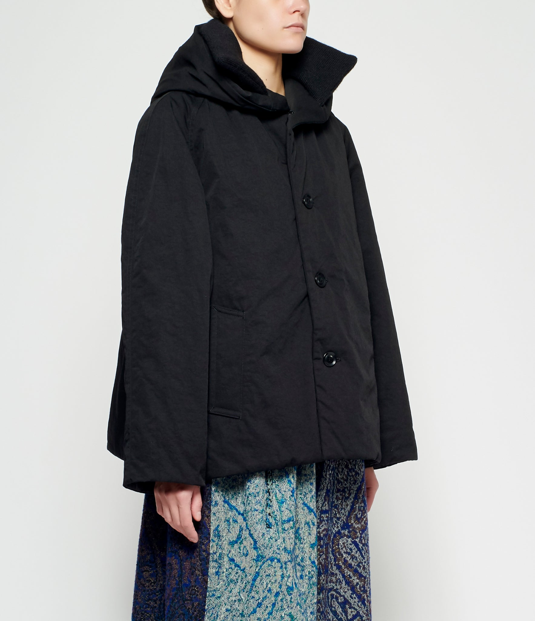 Y's Knit Stand Collar Hood Coat