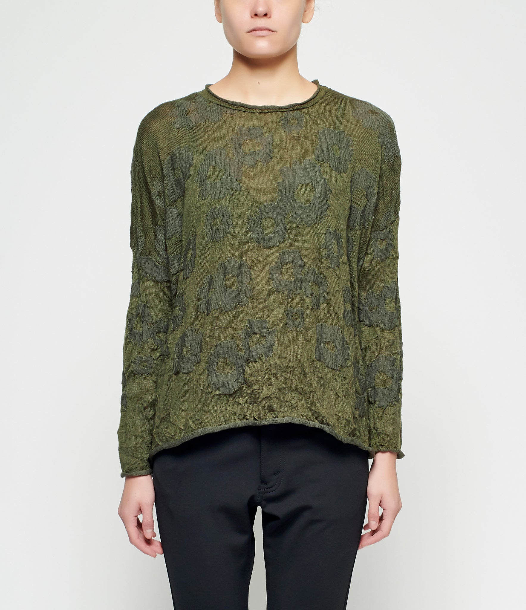 Y's Olive Flower Wrinkle Sweater