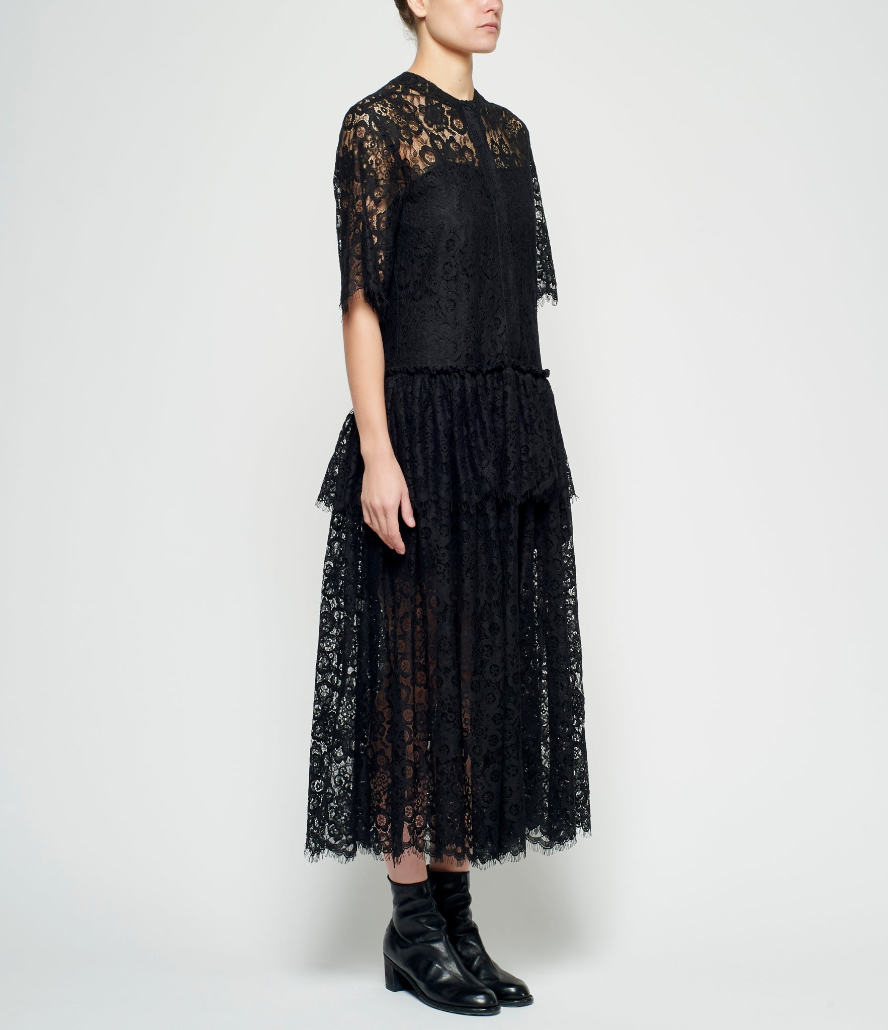 Sara Lanzi Black Cotton Lace Long Dress