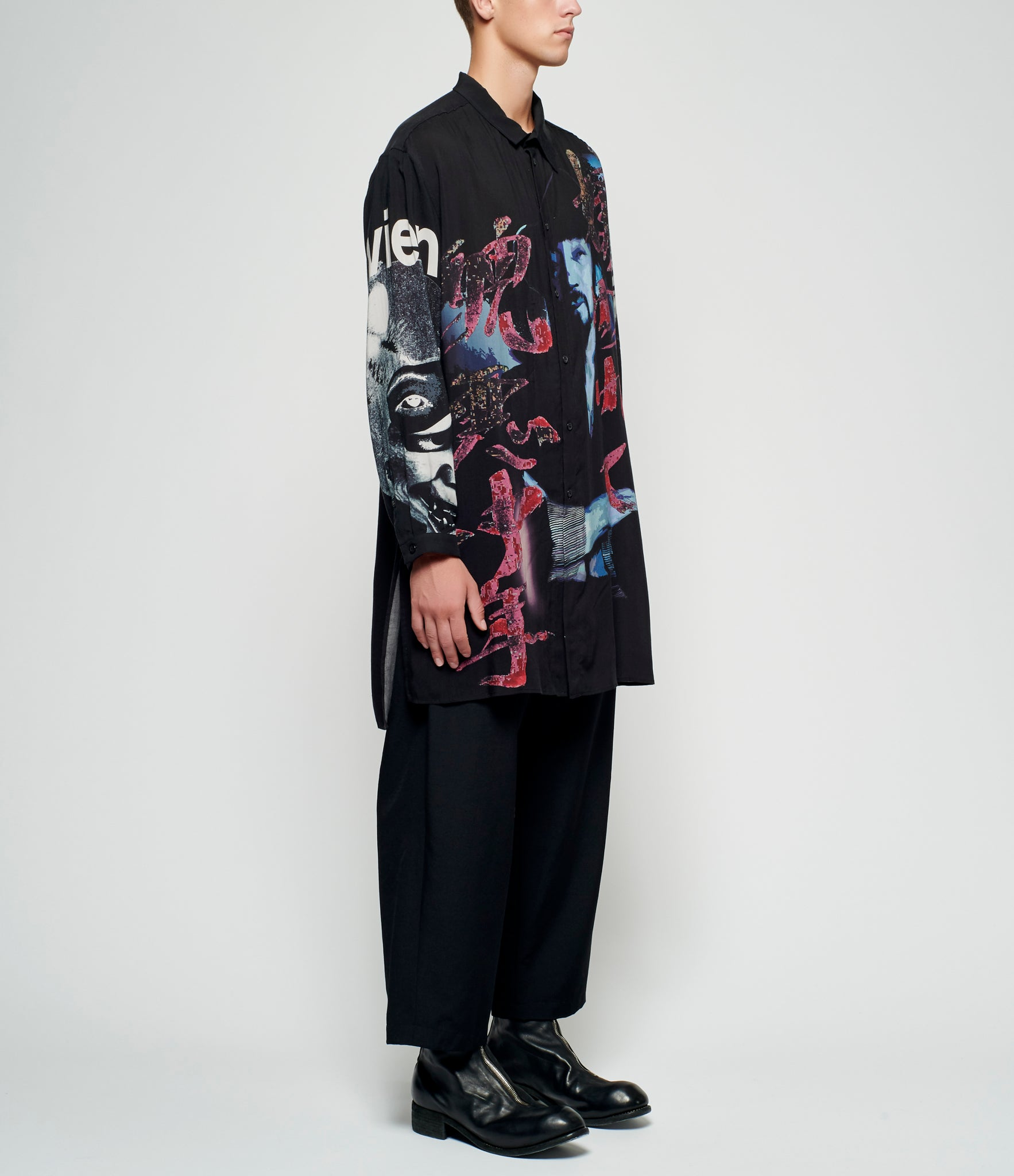 Yohji Yamamoto Asymmetric Collar Black Scandal Graphic Print Long Shirt