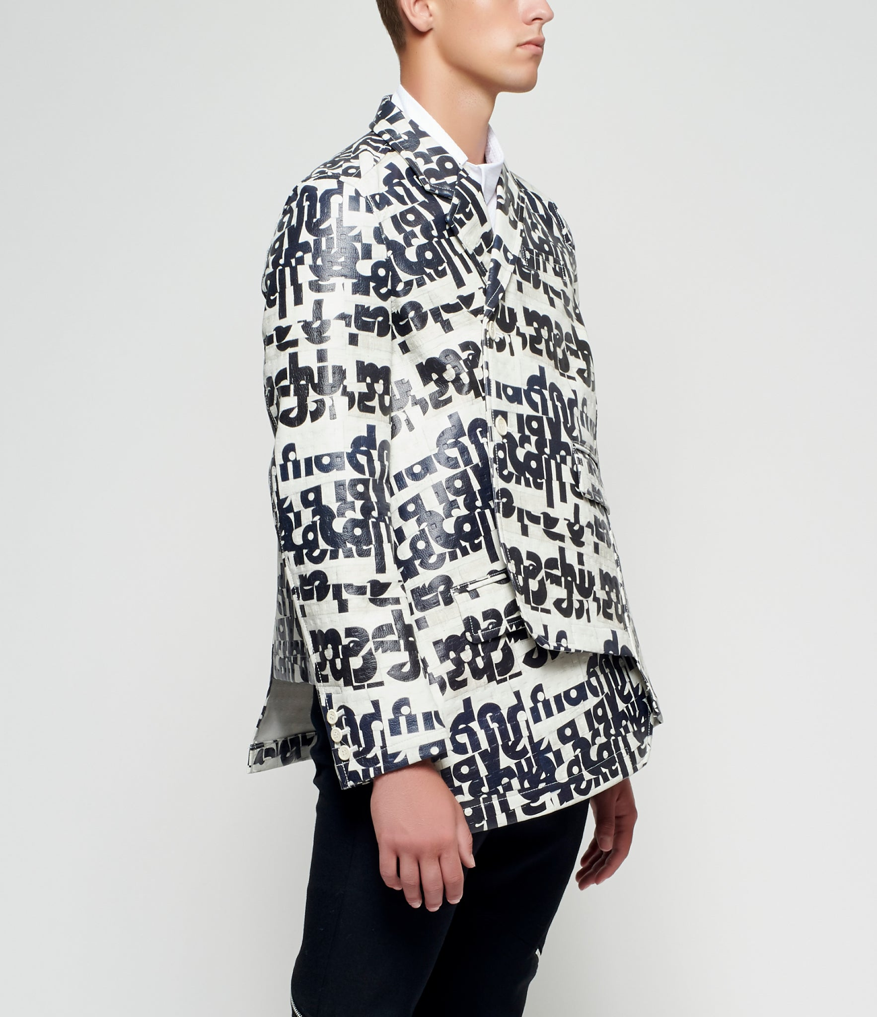 Comme des Garcons Homme Plus Graphic Embossed Synthetic Leather Blazer