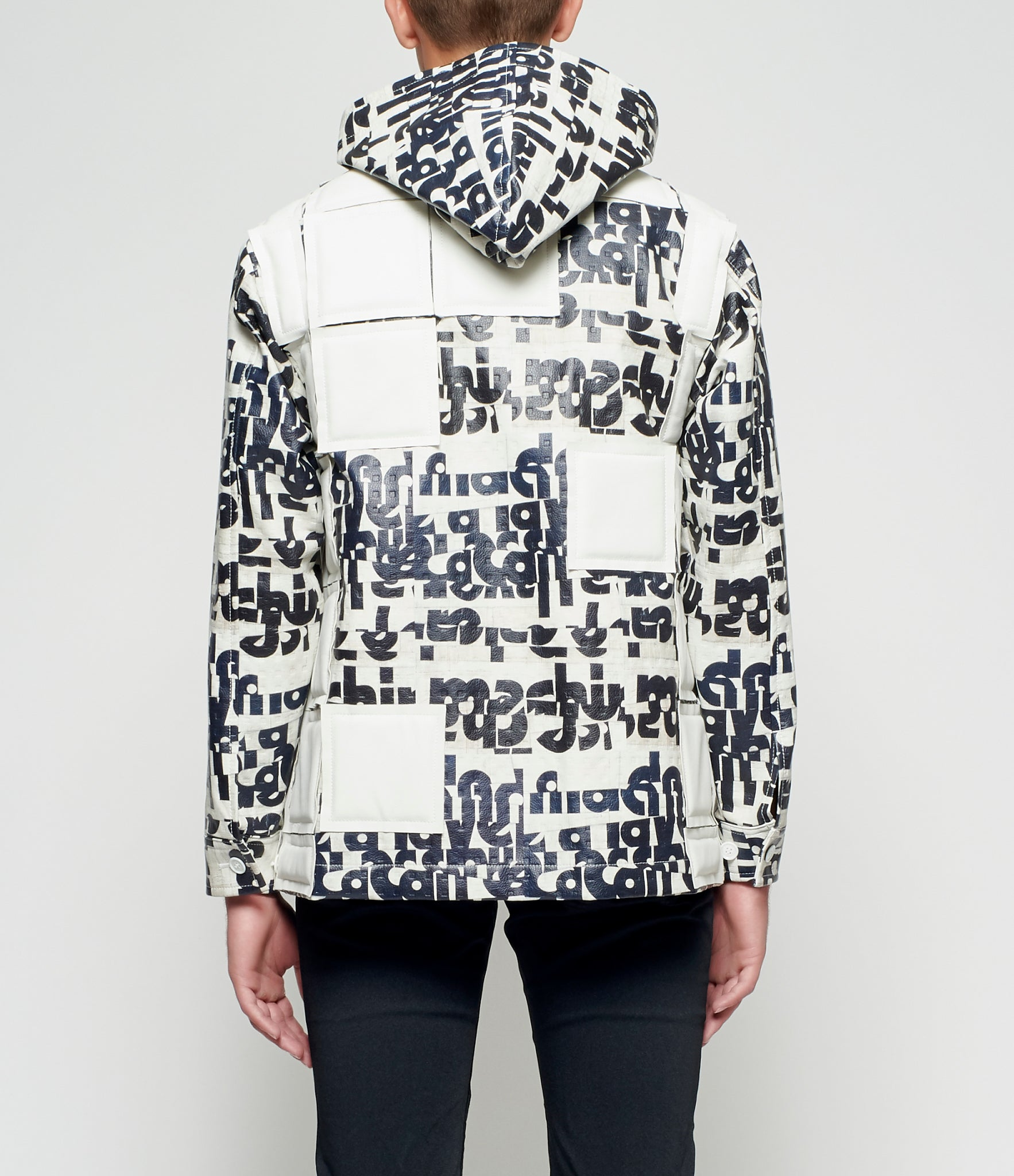 Comme des Garcons Homme Plus Graphic Embossed Applique Hooded Synthetic Leather Jacket