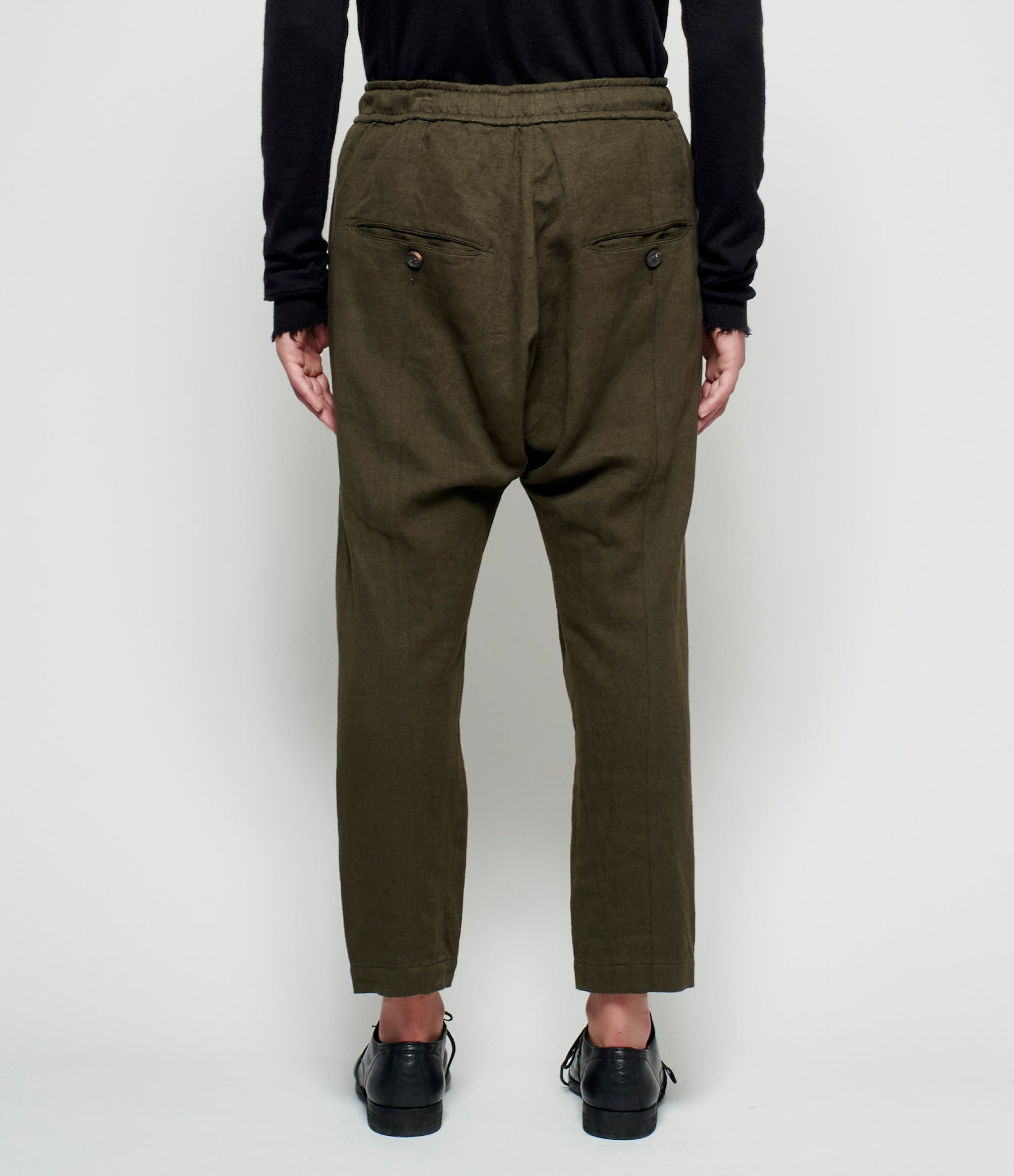 Ziggy Chen Olive Herringbone Twill Pants