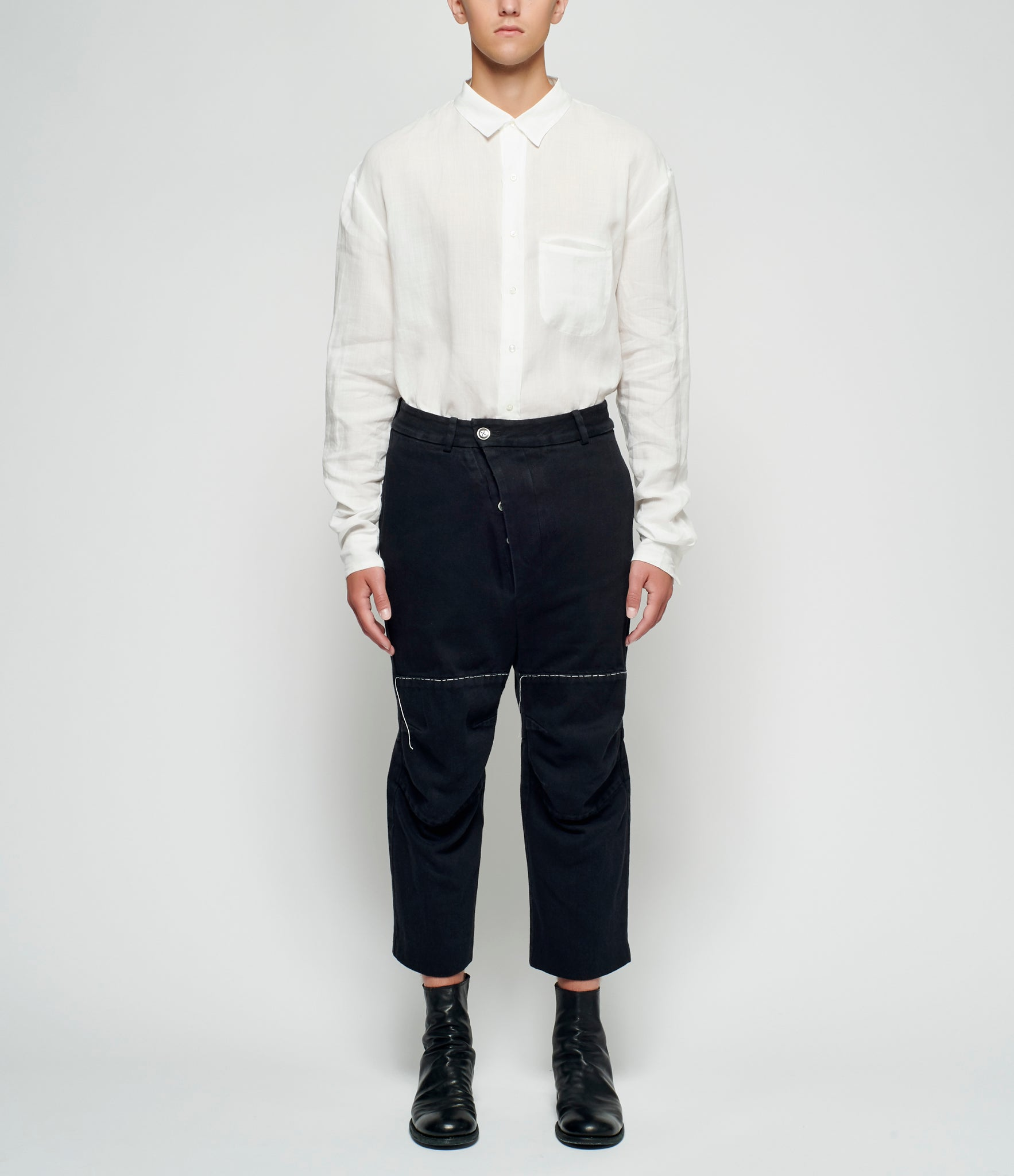 Sagittaire A Basting Stitched Articulated Denim Pants