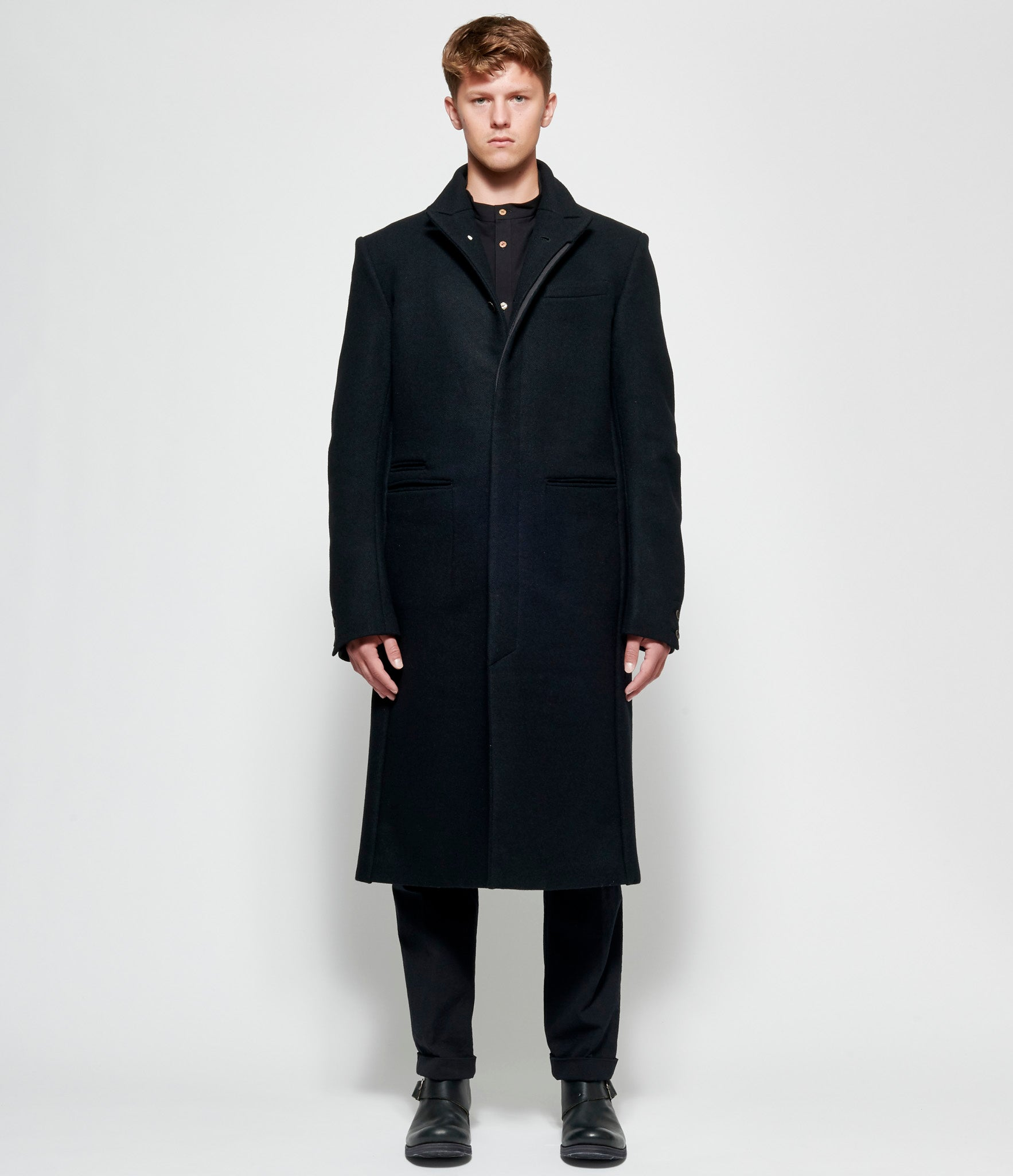 Individual Sentiments Knit Melton Wool Coat