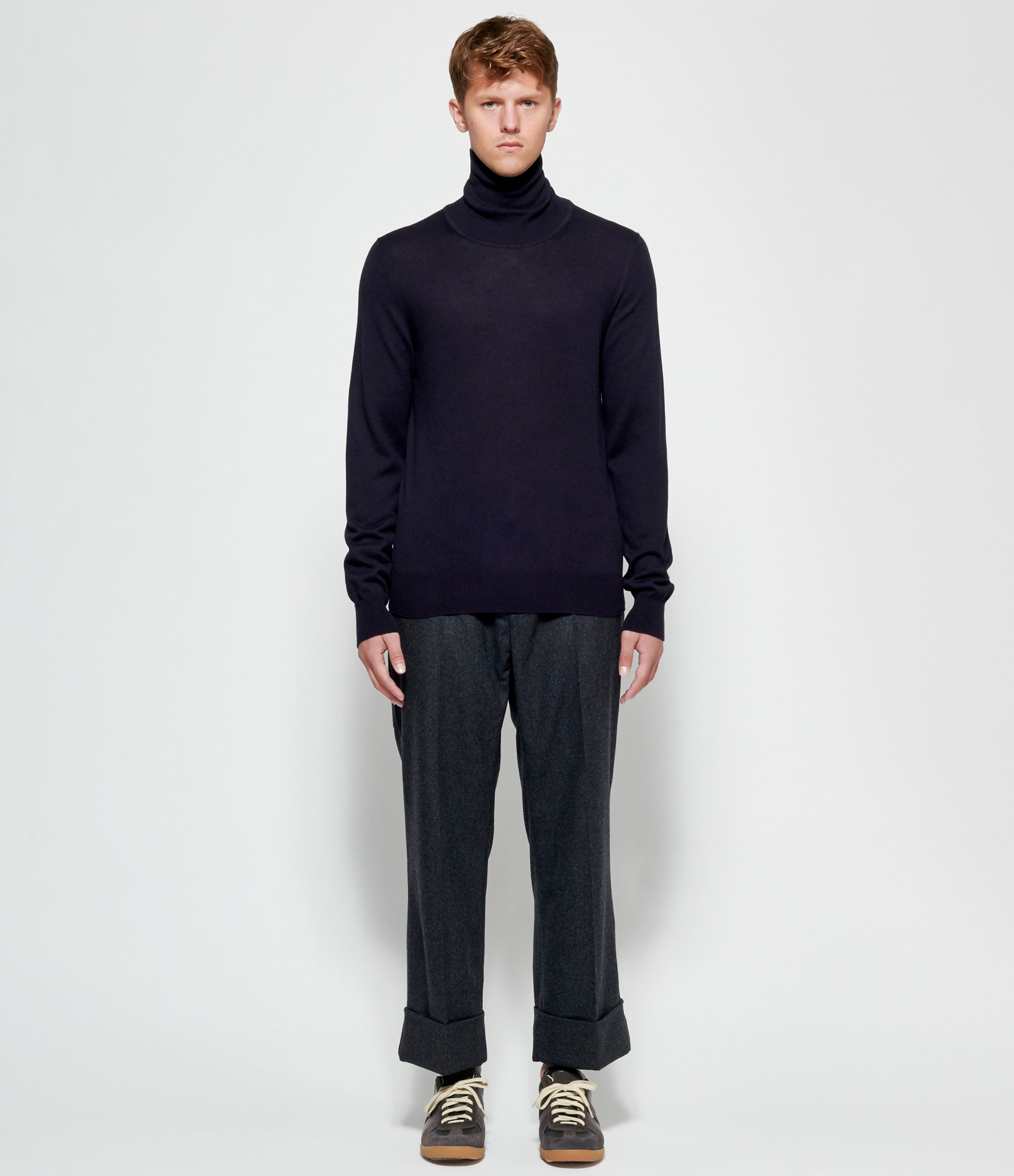 Maison Margiela Black Elbow Patch Turtle Neck Sweater