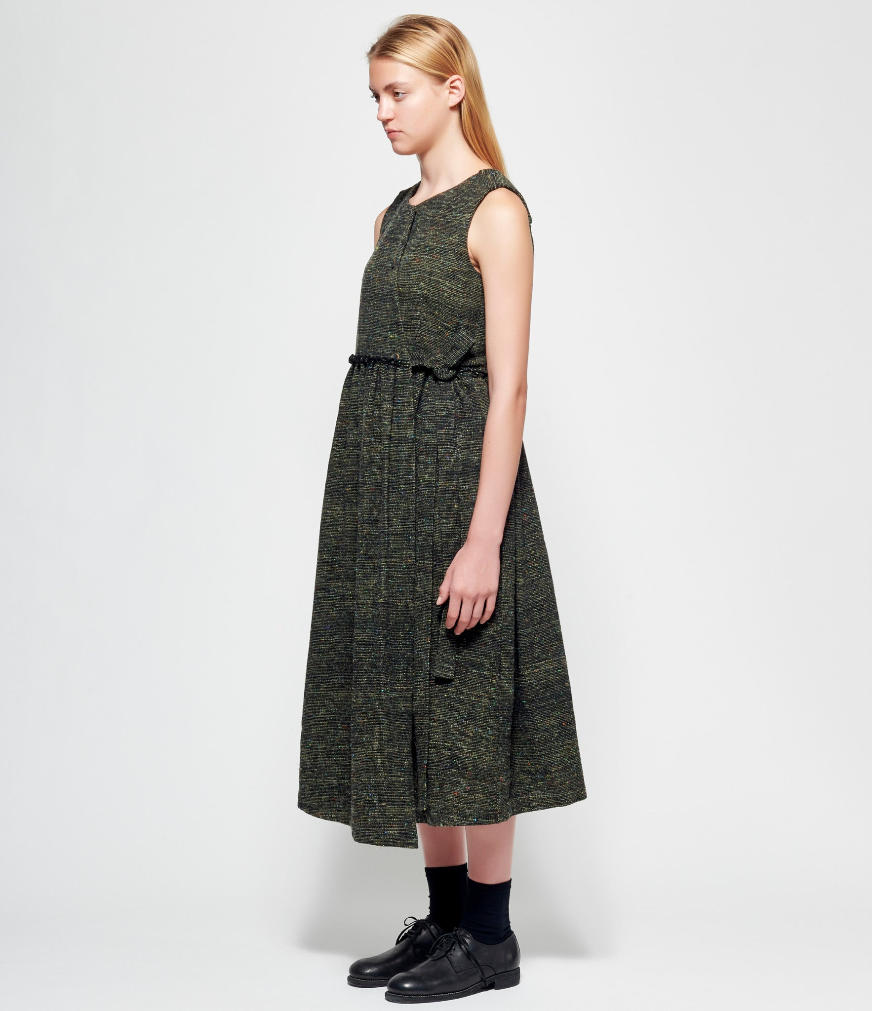 Individual Sentiments Mix Color Wool Tweed Sleeveless Belted Dress