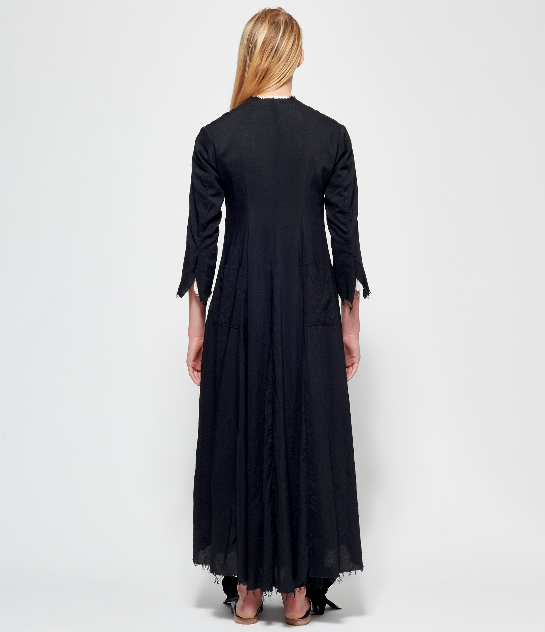 Elena Dawson Black Light Wool Lined House Coat