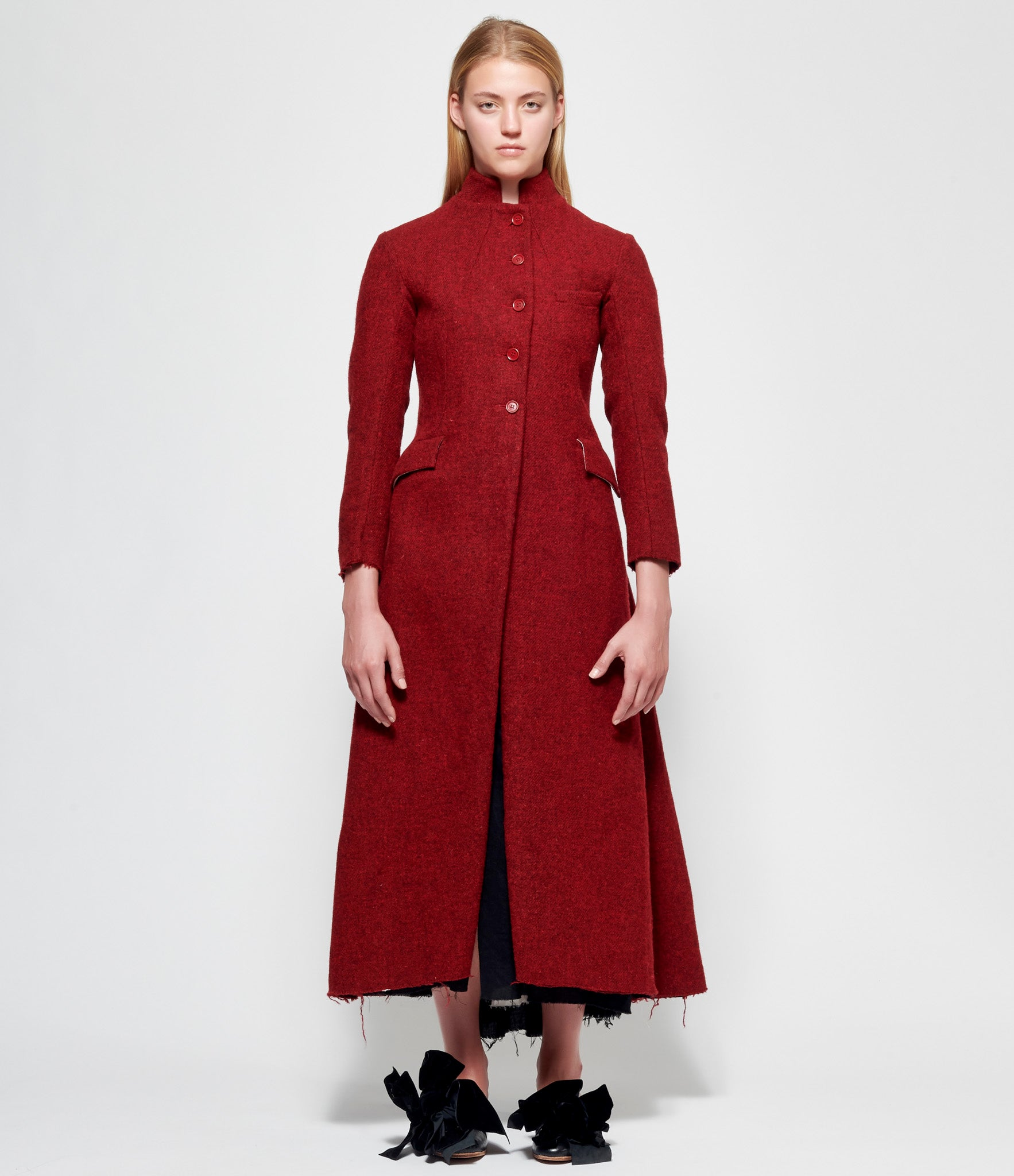 Elena Dawson Red Tweed 5 Button Hacking Coat