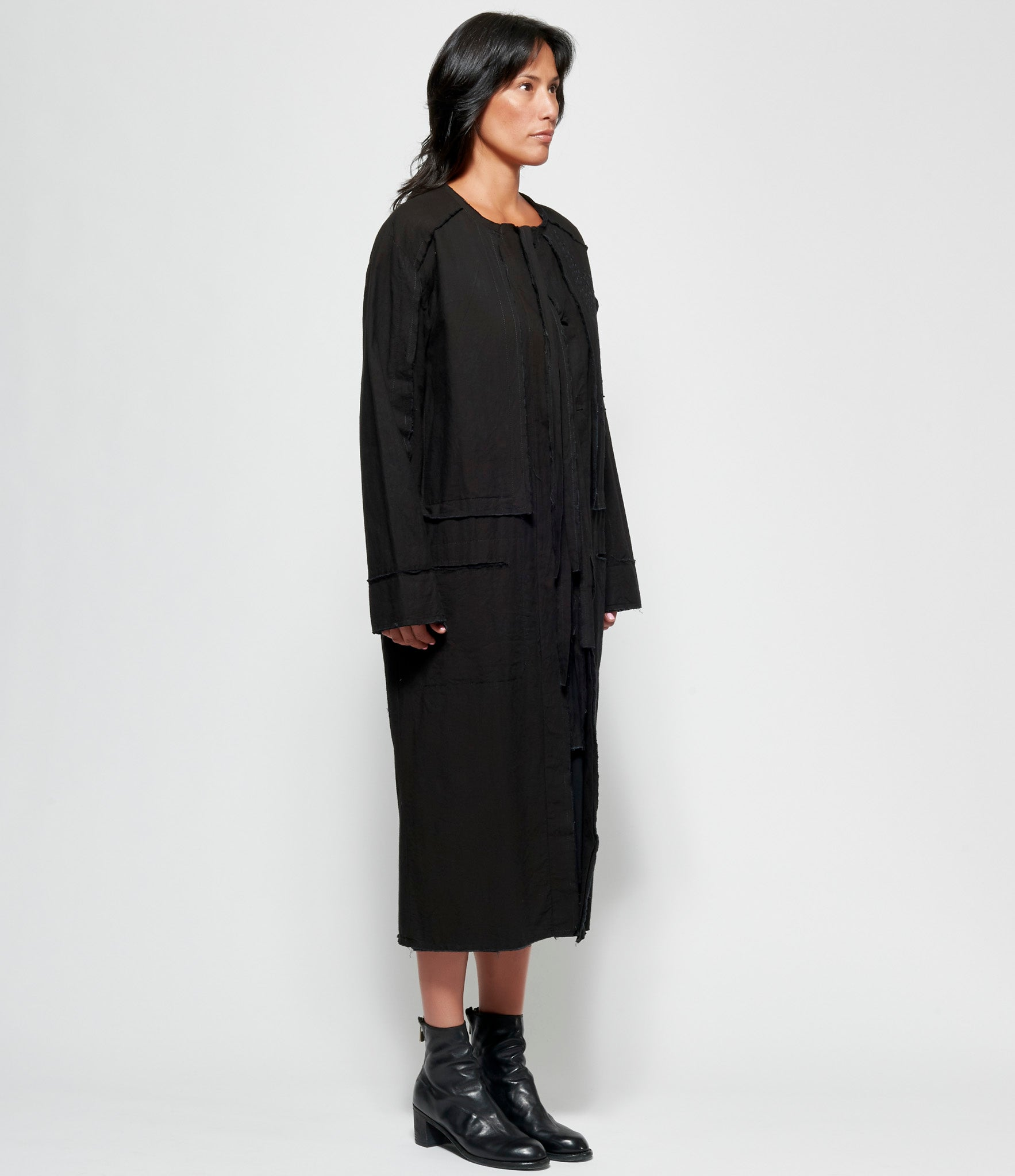 Replika Stitched Black Coat