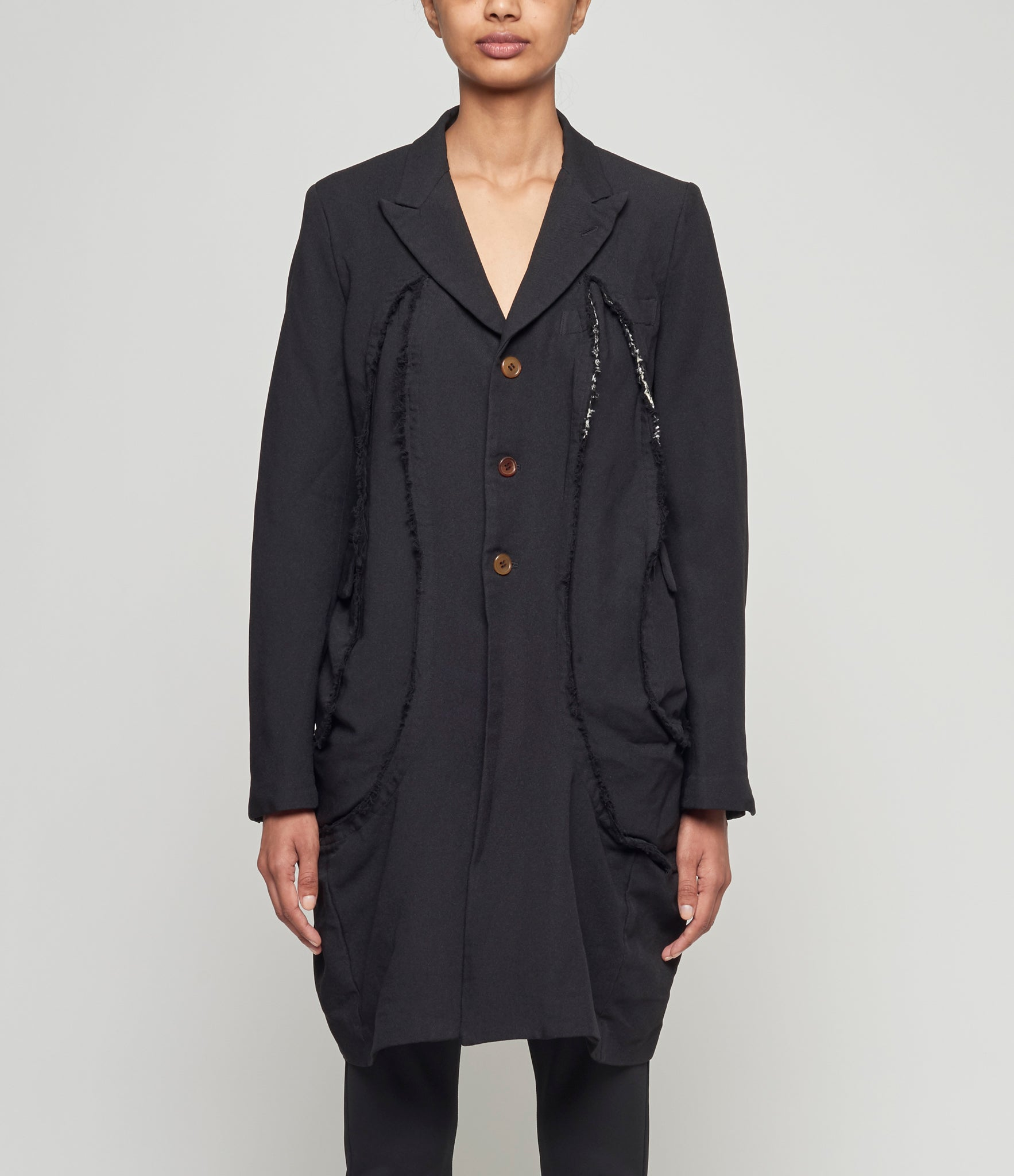 Comme Des Garcons Double Cloth Serge 3D Paneled Peak Lapel Coat
