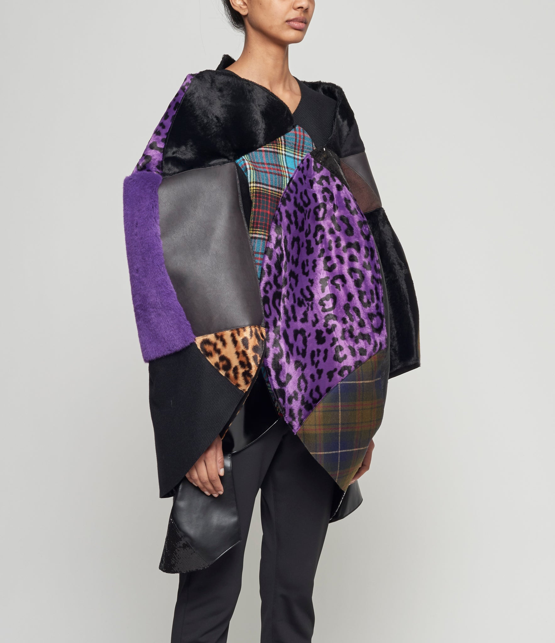 Junya Watanabe Synthetic Leather and Multi Fabric Patchwork Jacket