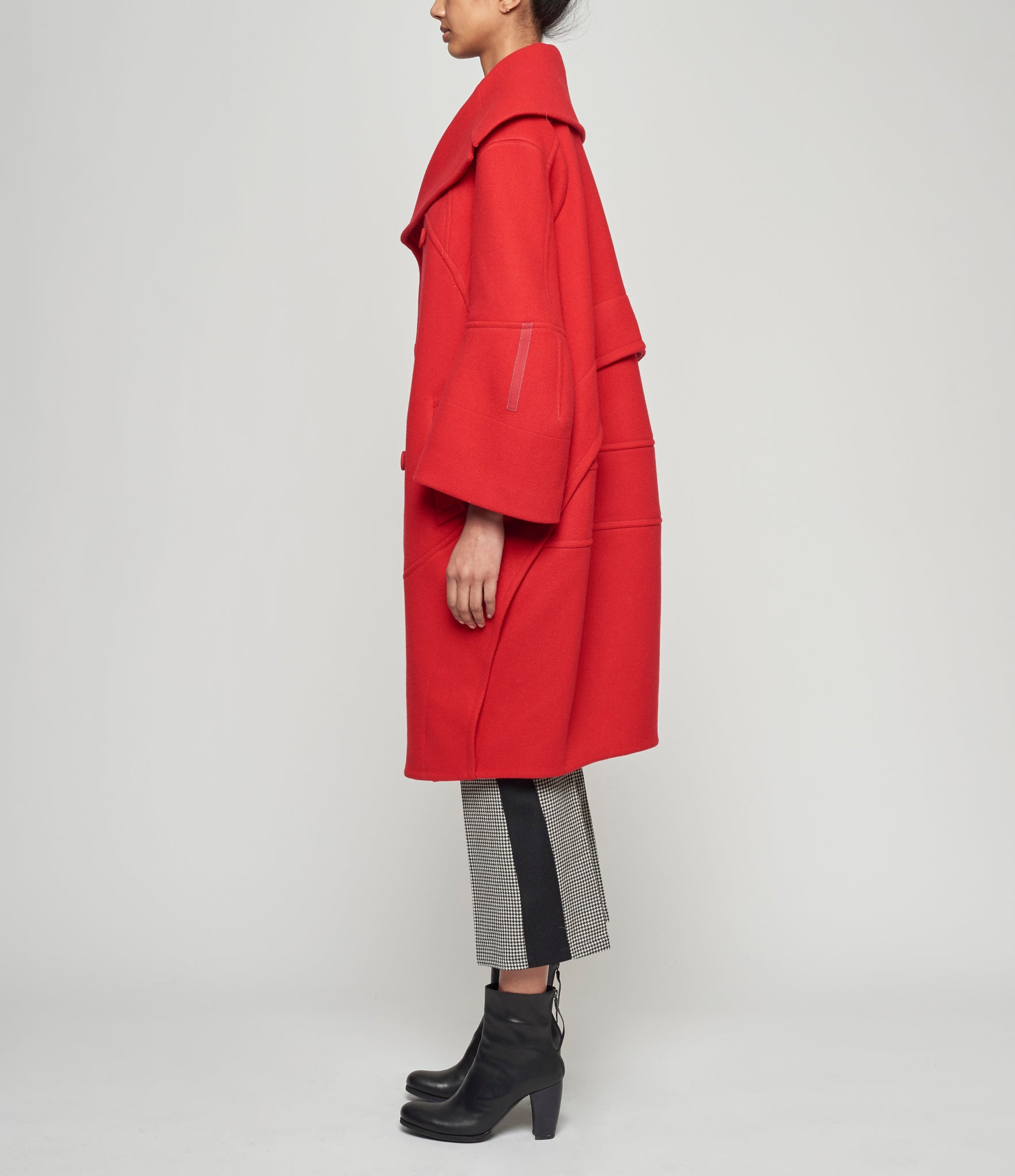Shiro Sakai Red Double Breasted Portrait Collar Coat
