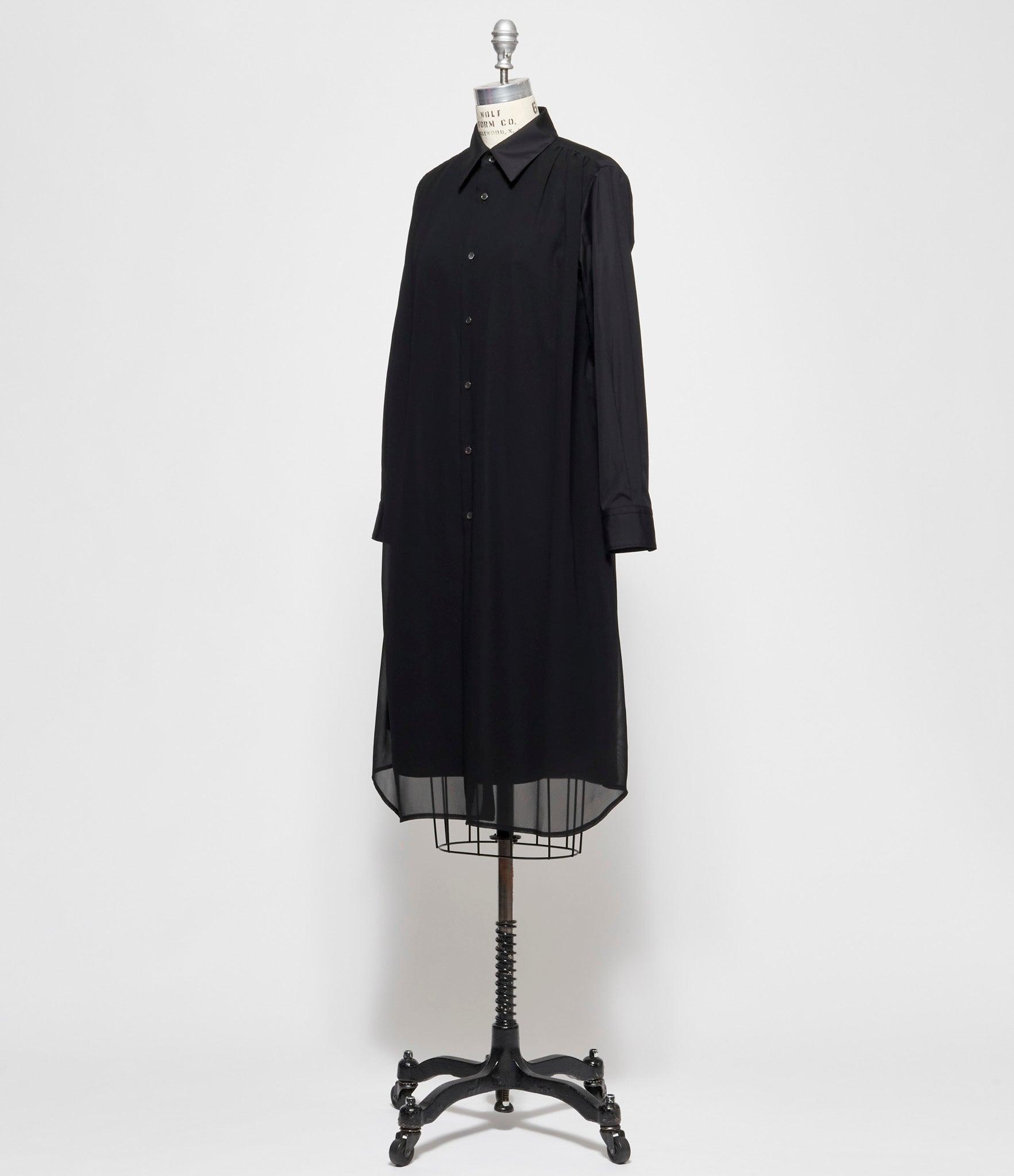 Comme Des Garcons Cotton Broadcloth x Polyester Georgette Long Shirt