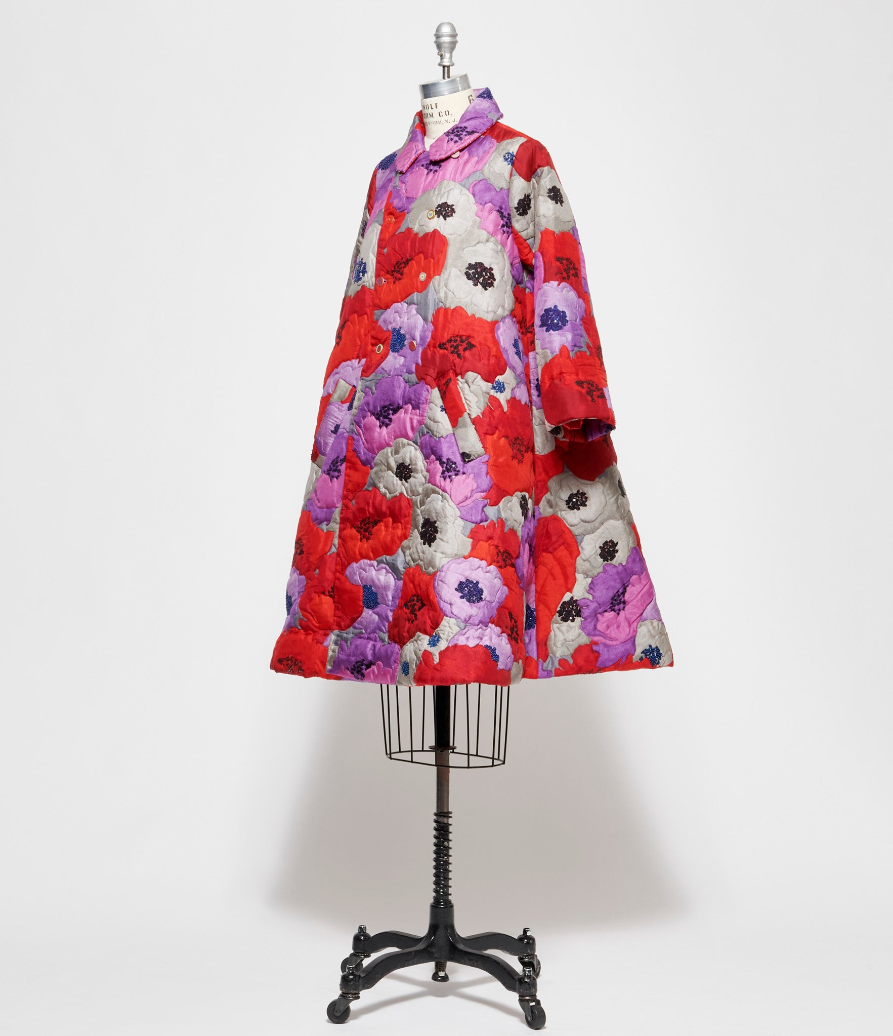 Pero Floral Print Quilted Silk A-Line Coat