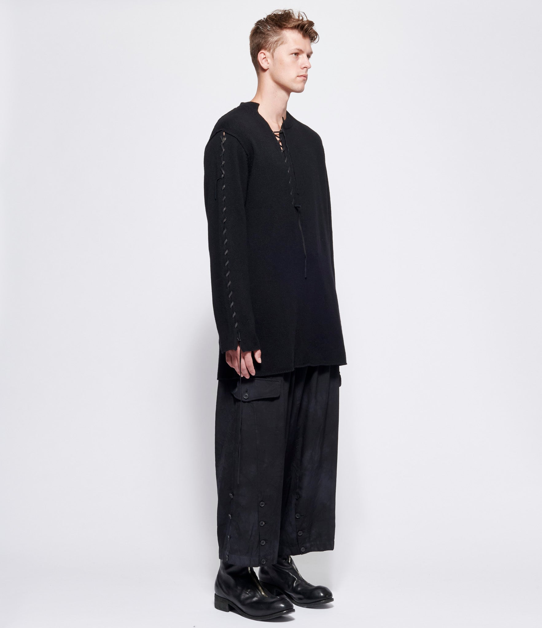 Yohji Yamamoto Pour Homme Leather Cord String Round Neck Sweater