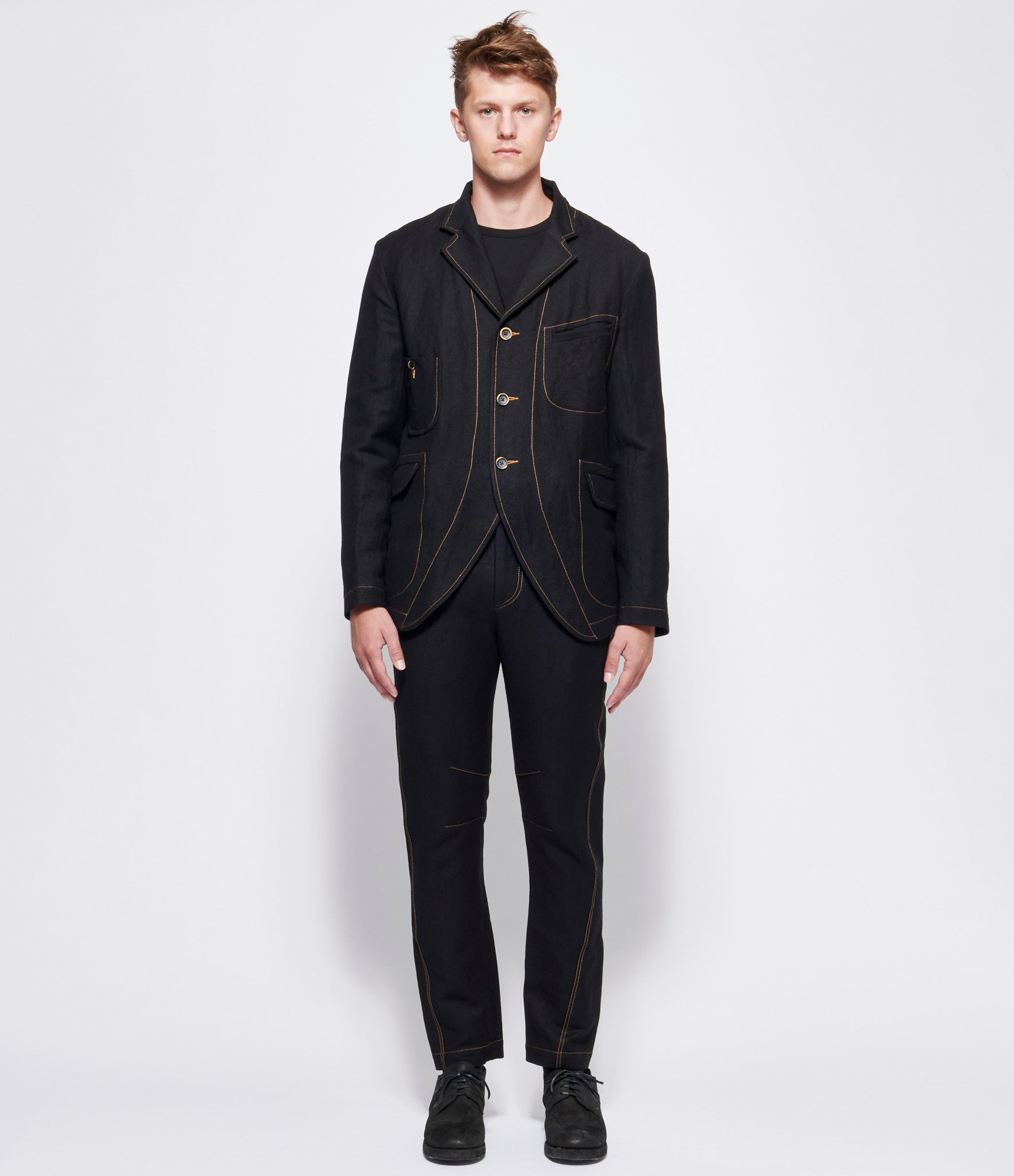 Uma Wang Black Linen Wool Jaxon Jacket