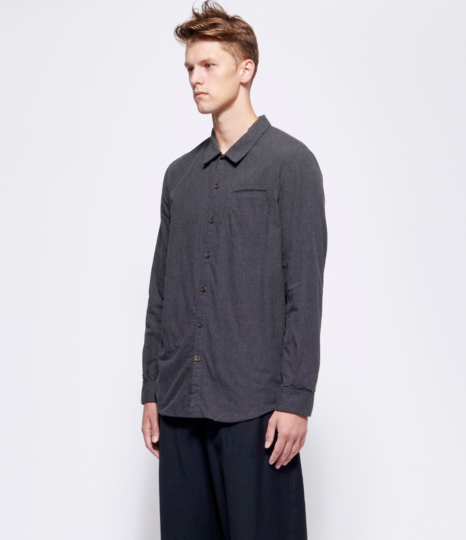 'T Ensemble Charcoal Melange Jersey-Lined Classic Fit Shirt