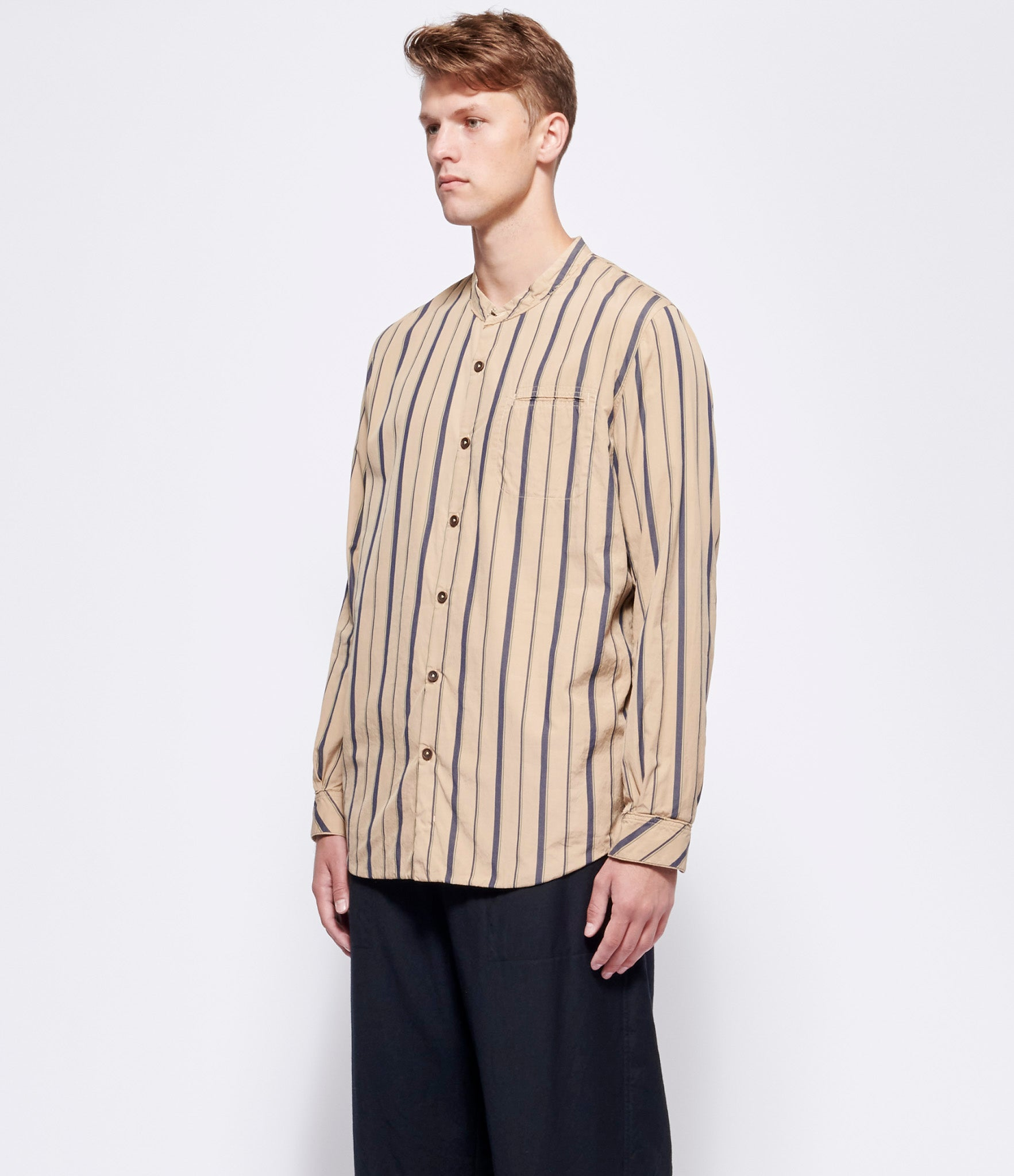 'T Ensemble Tea-Dyed Stripe Jersey-Lined Classic Fit Shirt